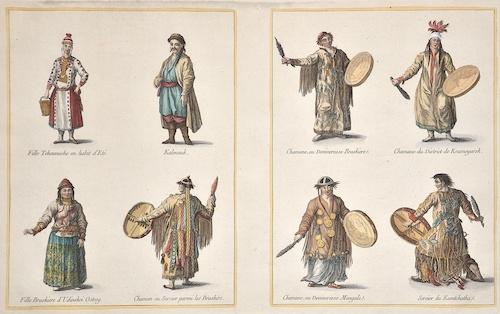 Anonymus  Fille Tchouvache en habit d'Ete. Kalmouk. Fille Braskiere d' Udinskoi Ostrog. Chaman ou Sorcier parmi les Braskirs.