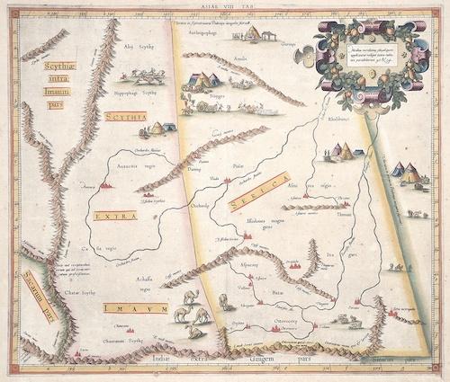 Ptolemy/ Gerhard Mercator Claudius Asiae VIII Tab / Medius meridianus 160, ad quem applicantur reliqui iuxta rationes parallelorum 42  u 54.