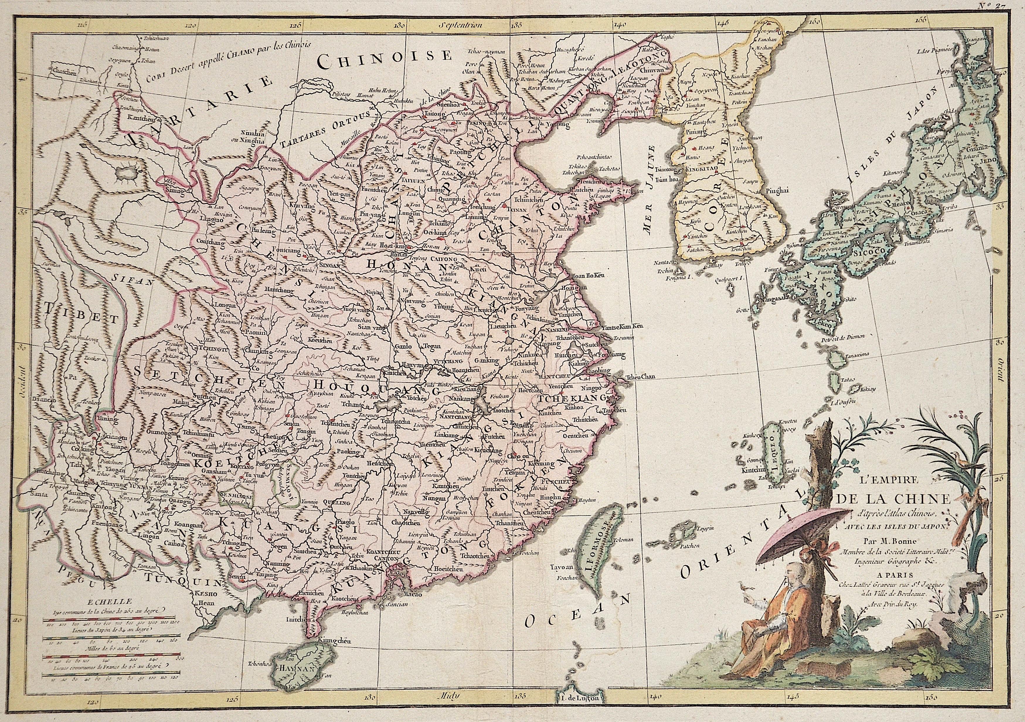 Bonne Rigobert L'Empire de la Chine d'apres l'Atlas Chinois, avec les Isles du Japon.