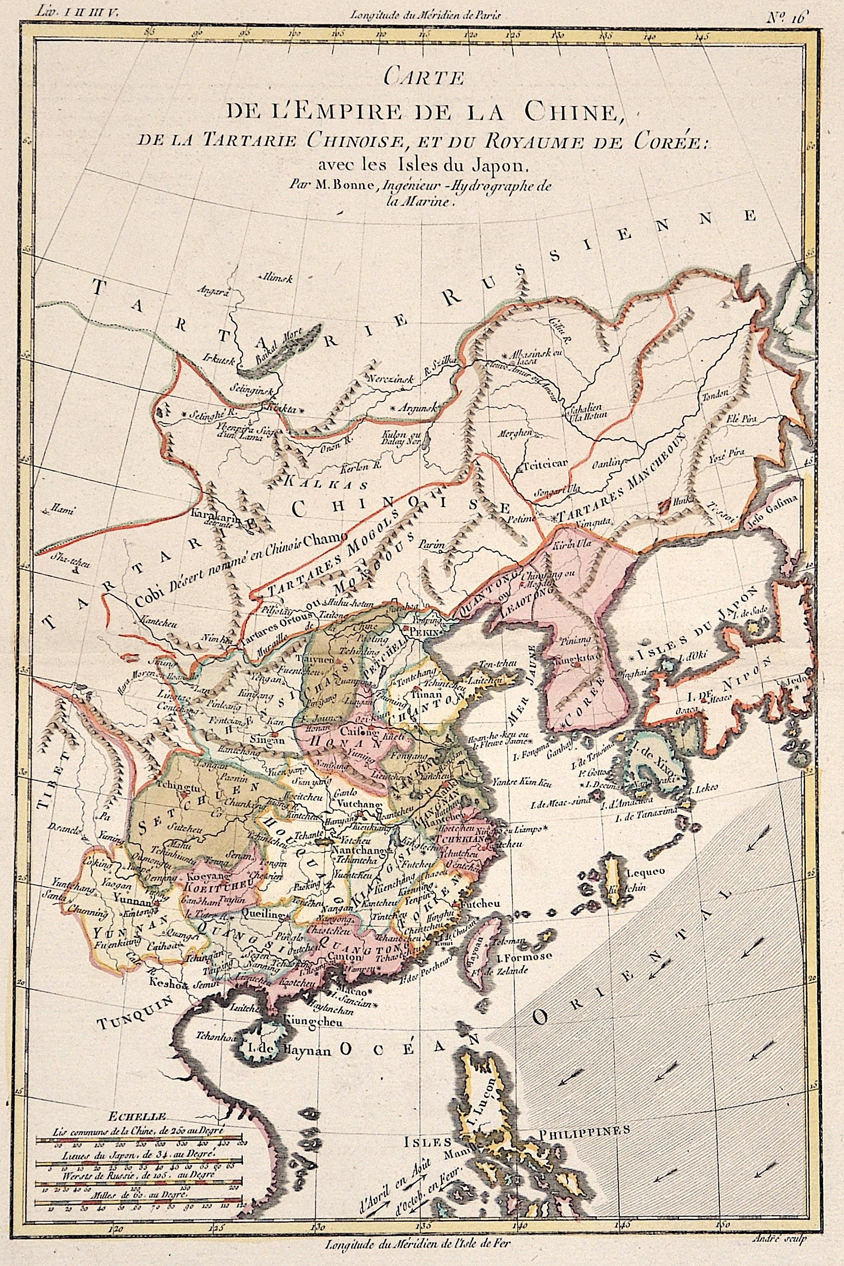 Bonne Rigobert Carte de l'Empire de la Chine, de la Tartarie Chinoise, et du Royaume de Corèe: avec les Isles du Japon.