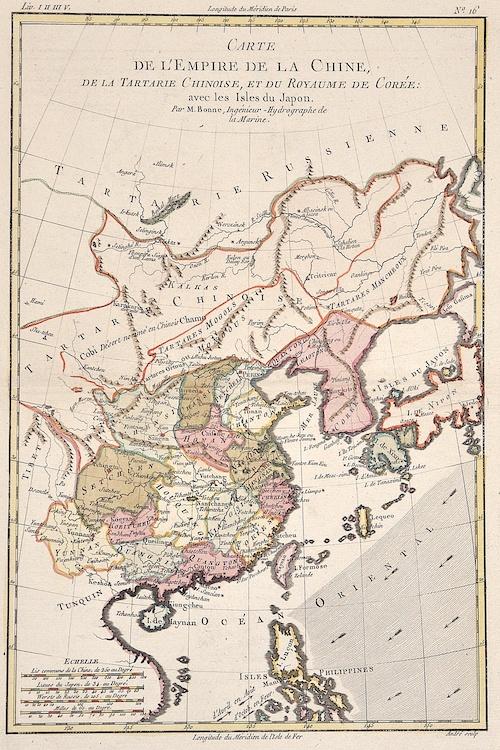 Bonne  Carte de l'Empire de la Chine, de la Tartarie Chinoise, et du Royaume de Corèe: avec les Isles du Japon.