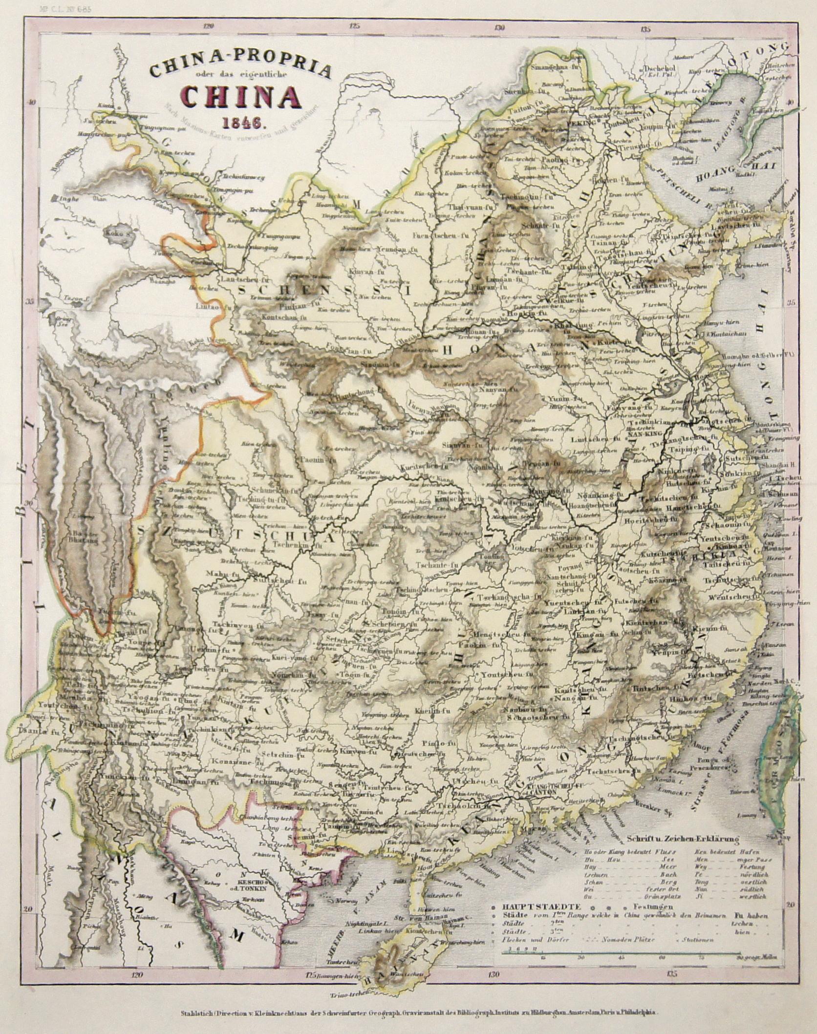 Kunstanstalt Hildburghausen  China-Propria oder das eigentliche China 1846.