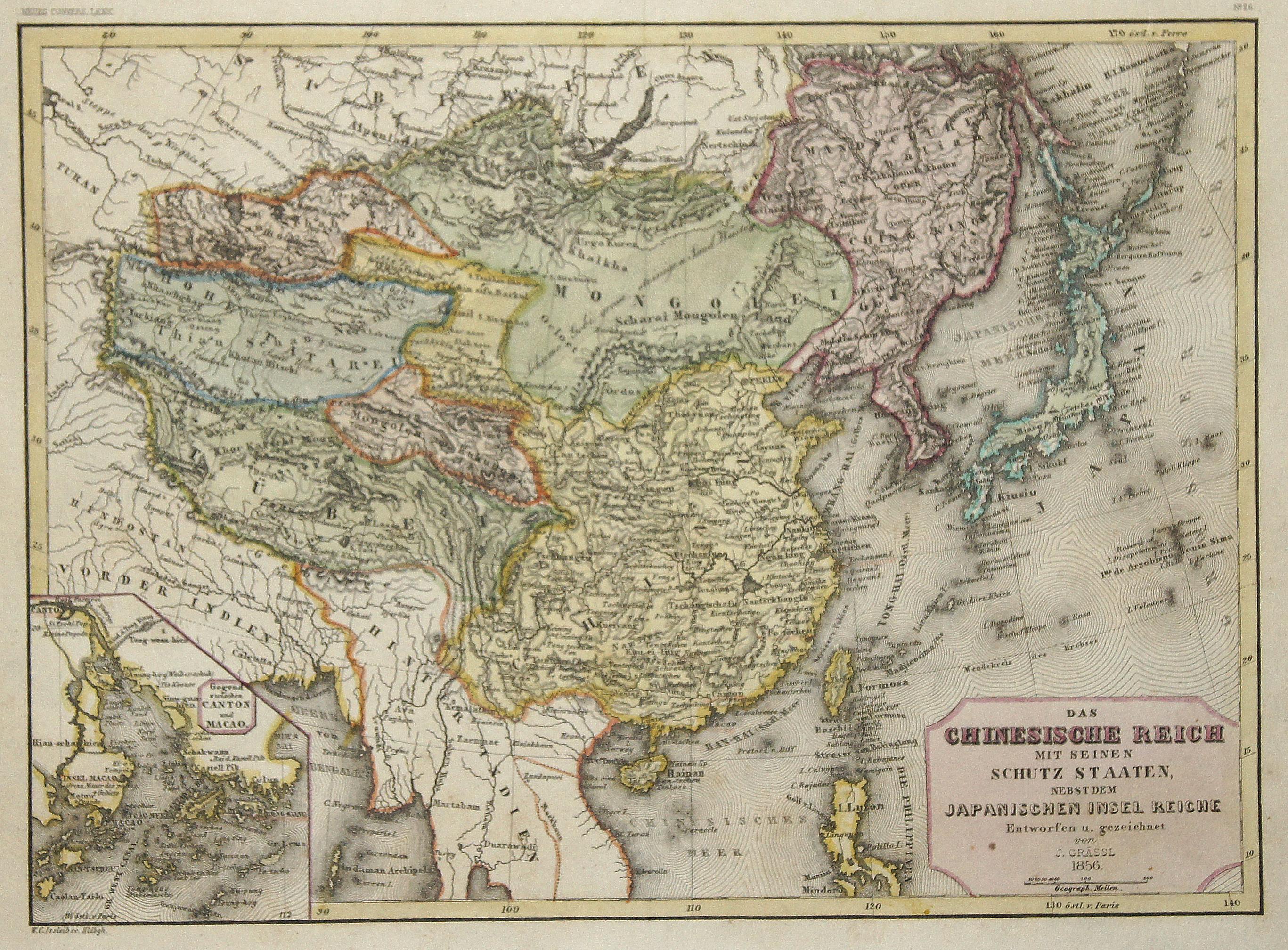 Grässl  Das Chinesische Reich mit seinen Schutz Staaten, nebst dem Japanischen Insel Reiche