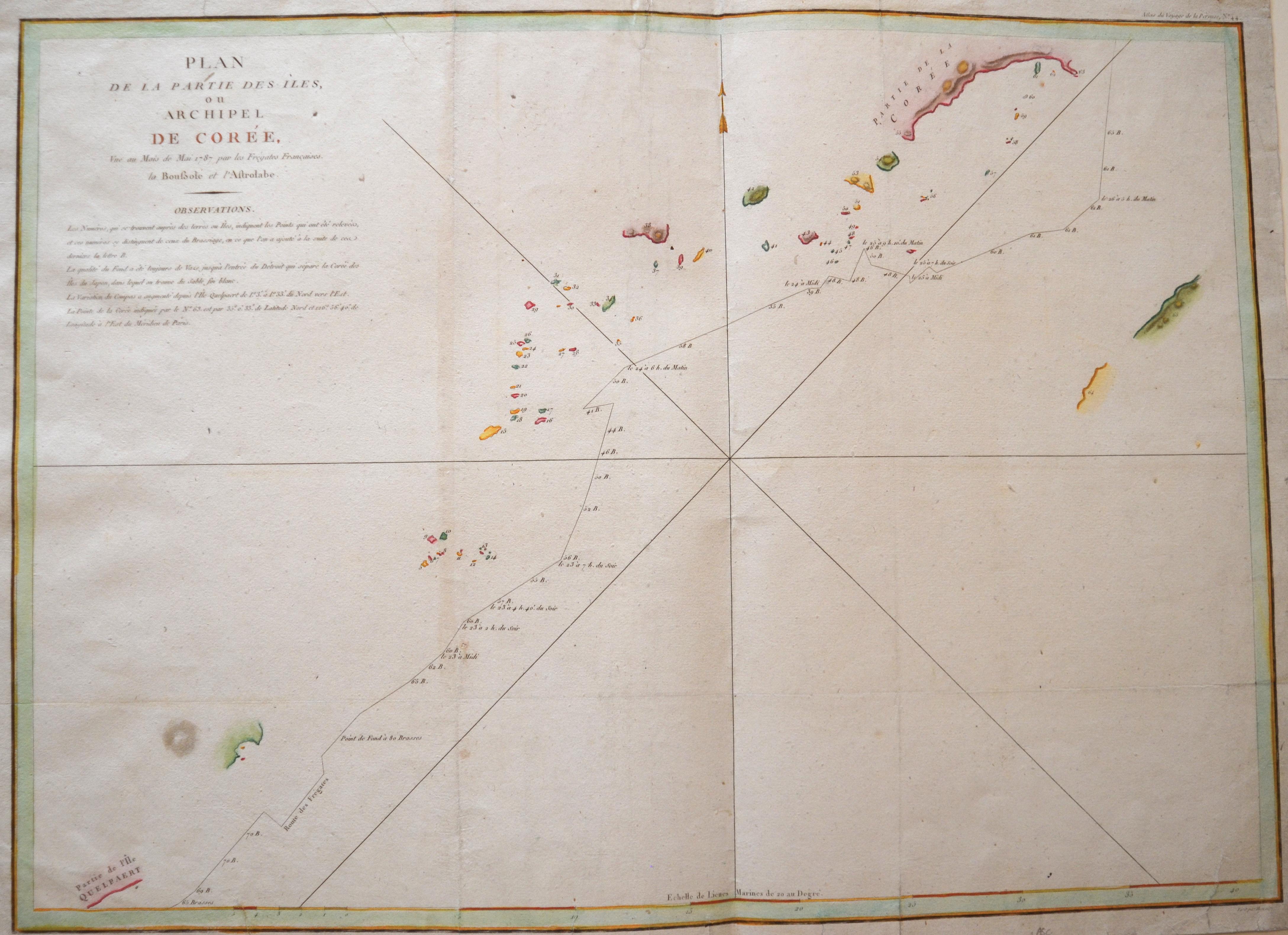Perousse,de La Jean-François de Galaup Plan de la Partie des Iles, ou archipel de Corée, Vue au Mois de Mai 1787 par les Frégates Francaises.