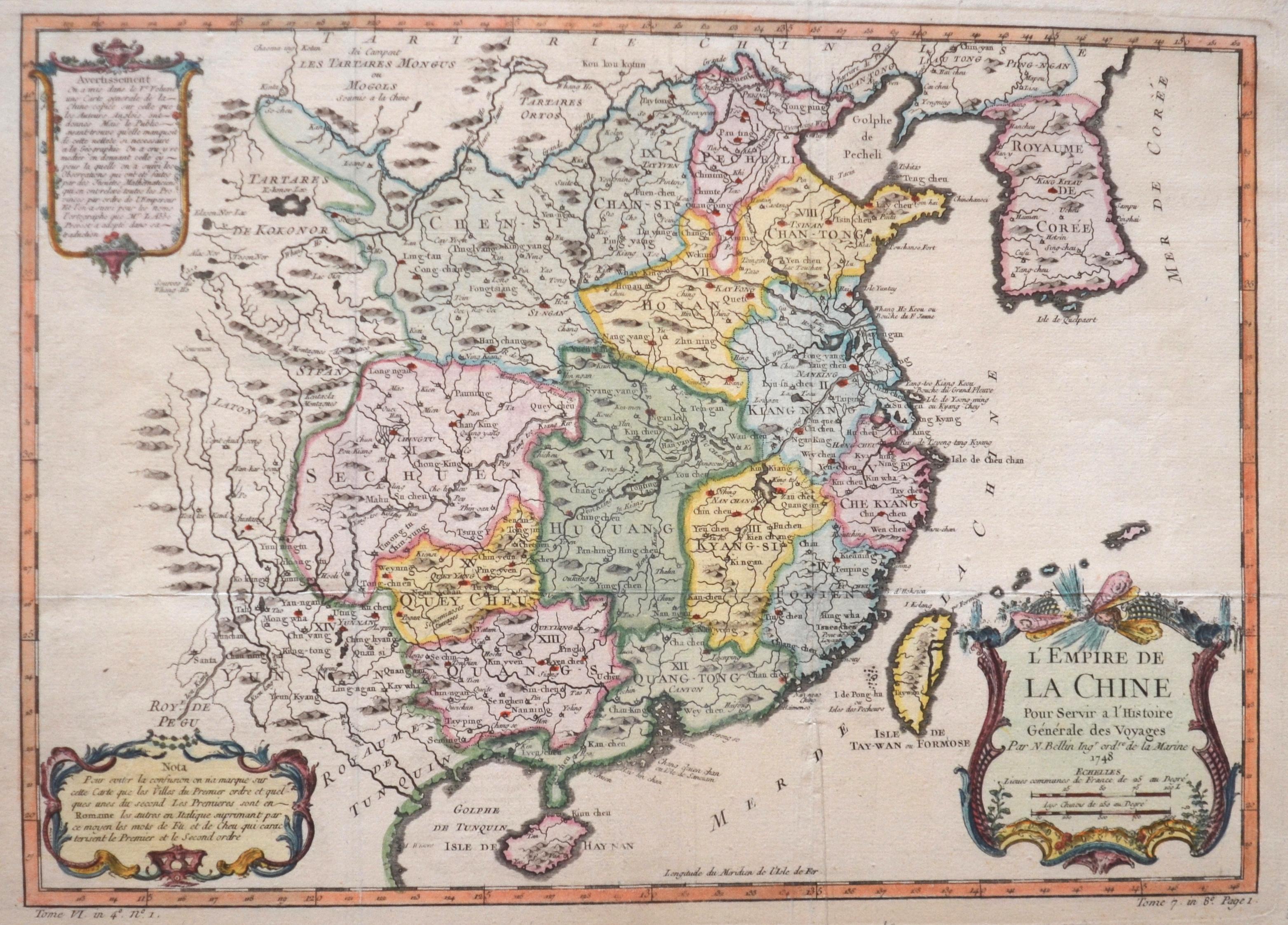 Bellin  L'Empire de la Chine Pour Servir a l'Histoire Générale des Voyages