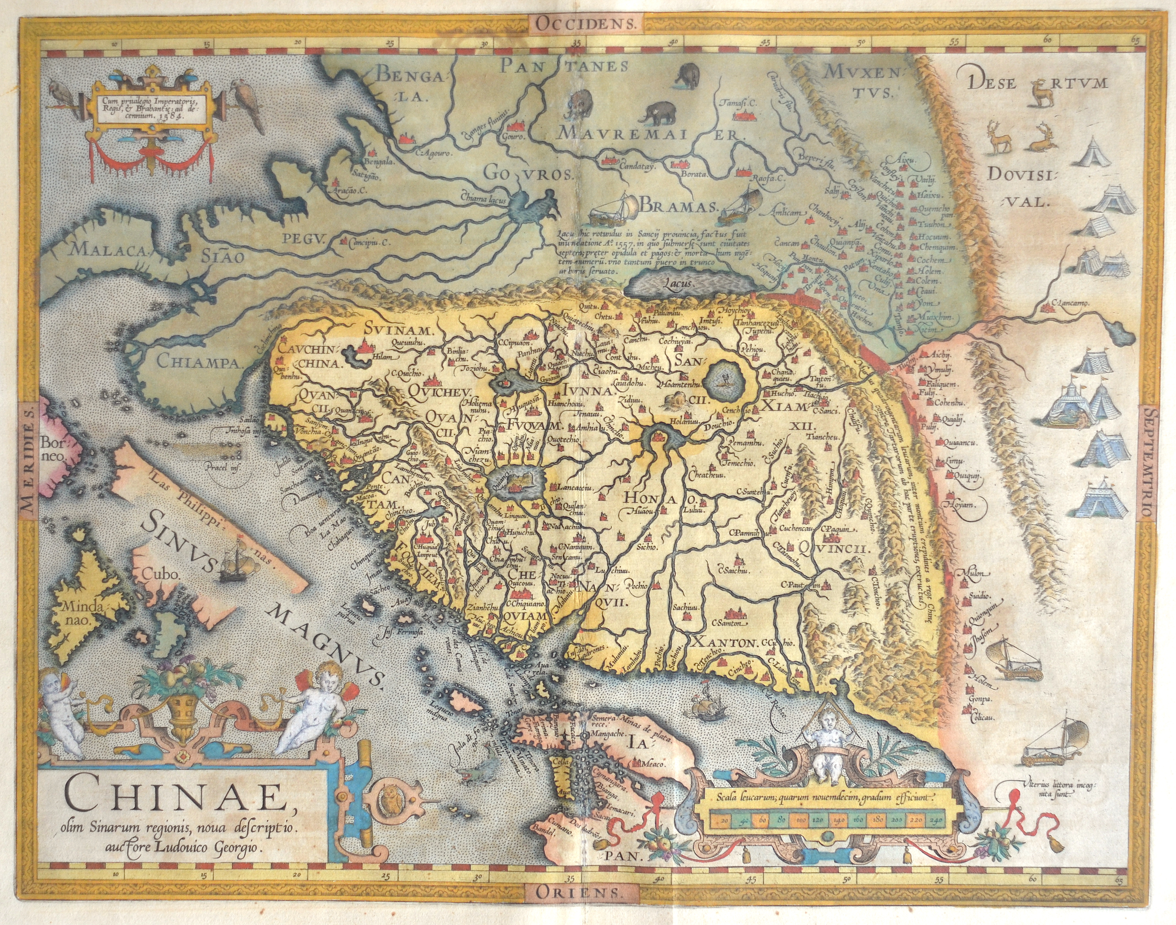 Ortelius  Chinae, olim Sinarum regionis, nova descriptio. Auctore Ludovico Georgio.