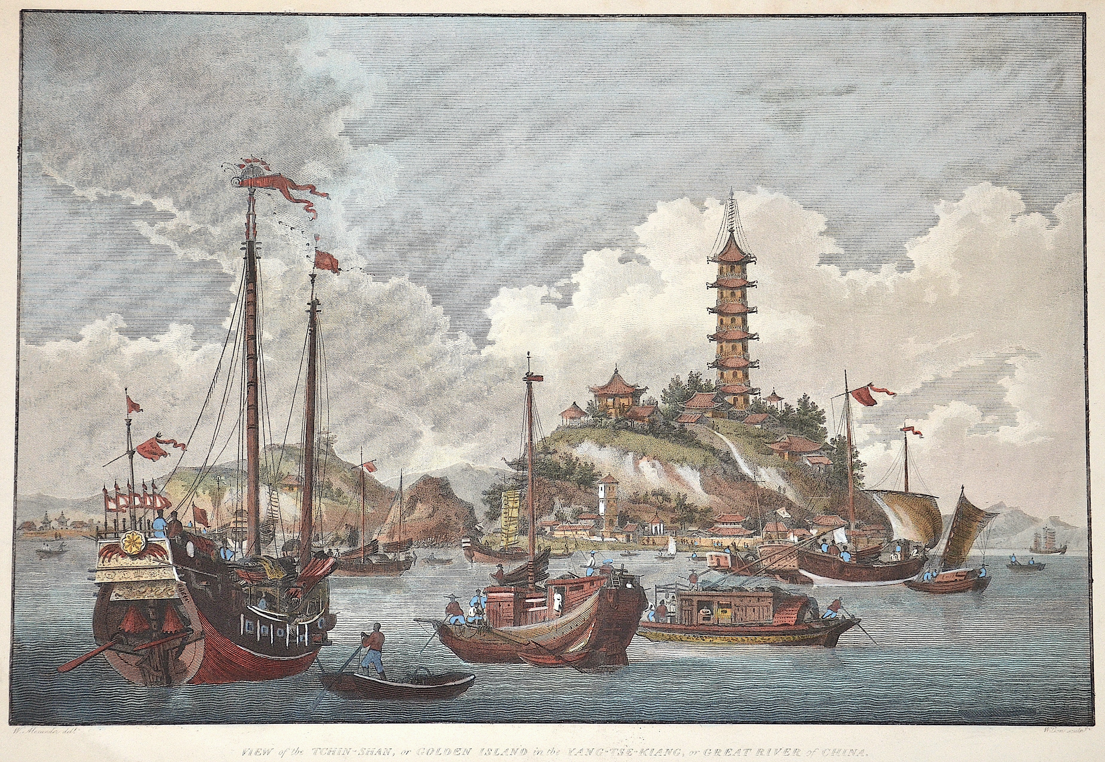 Nicol  View of the Thin-Shan, or Golden Island in the Yang Tse Kiang or Great River of China