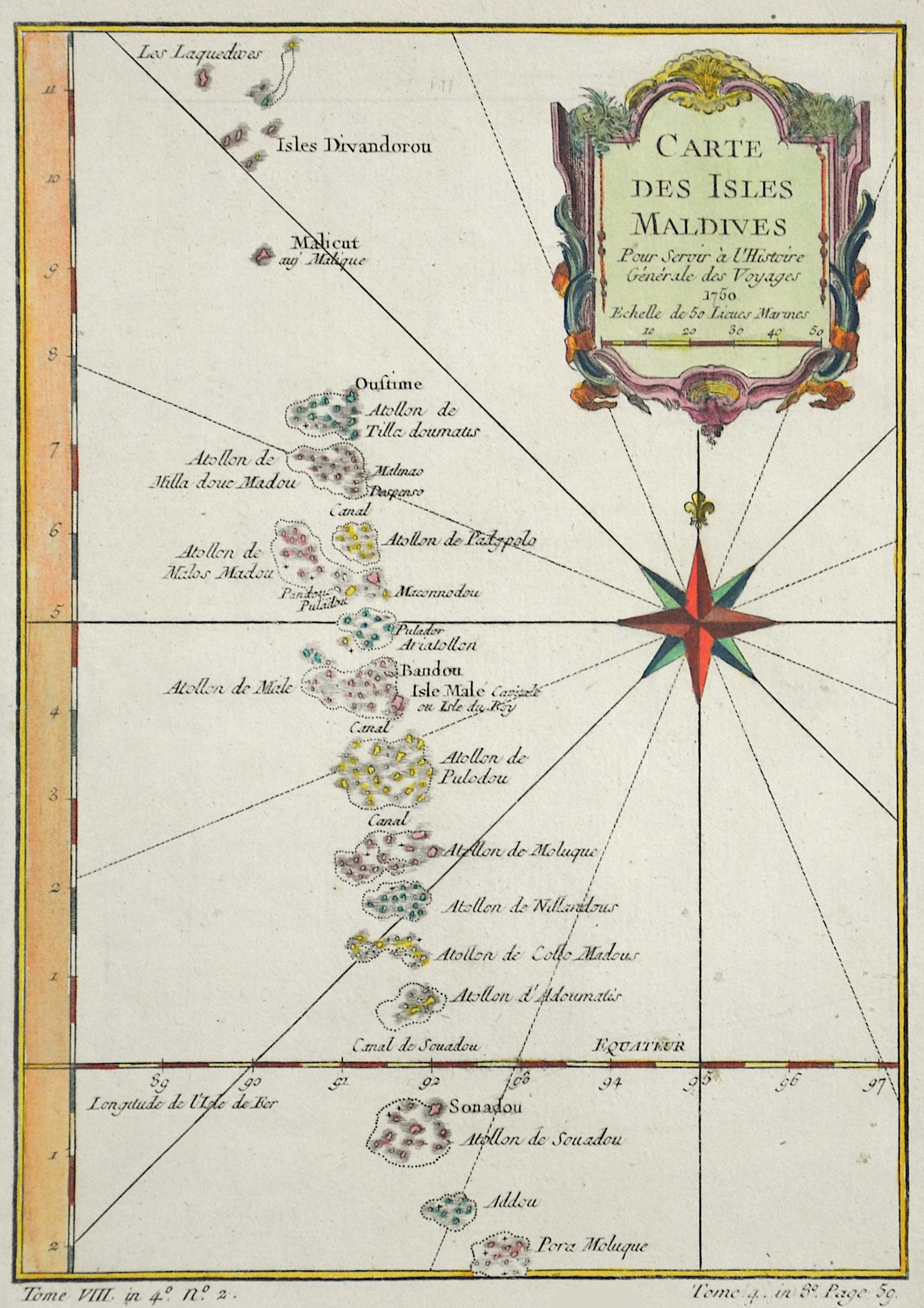 Bellin  Carte des isles Maldives