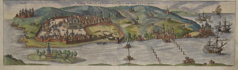 Braun/Hogenberg  Goa fortissima Indiae urbs in Chris Fiariorum potestatem anno salutis 1509. Deuenit