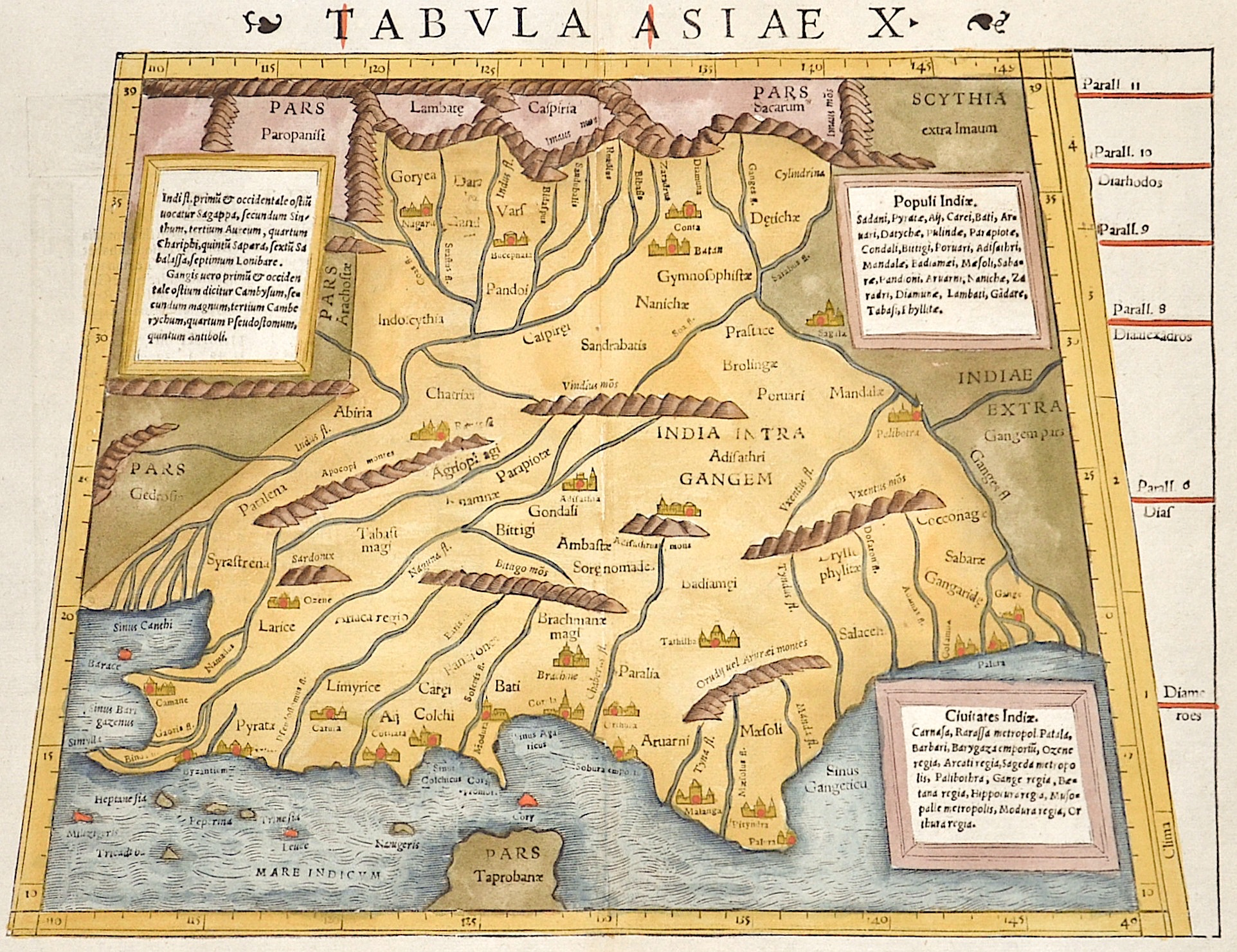 Ptolemy/Münster Sebastian Claudius Tabula Asiae X