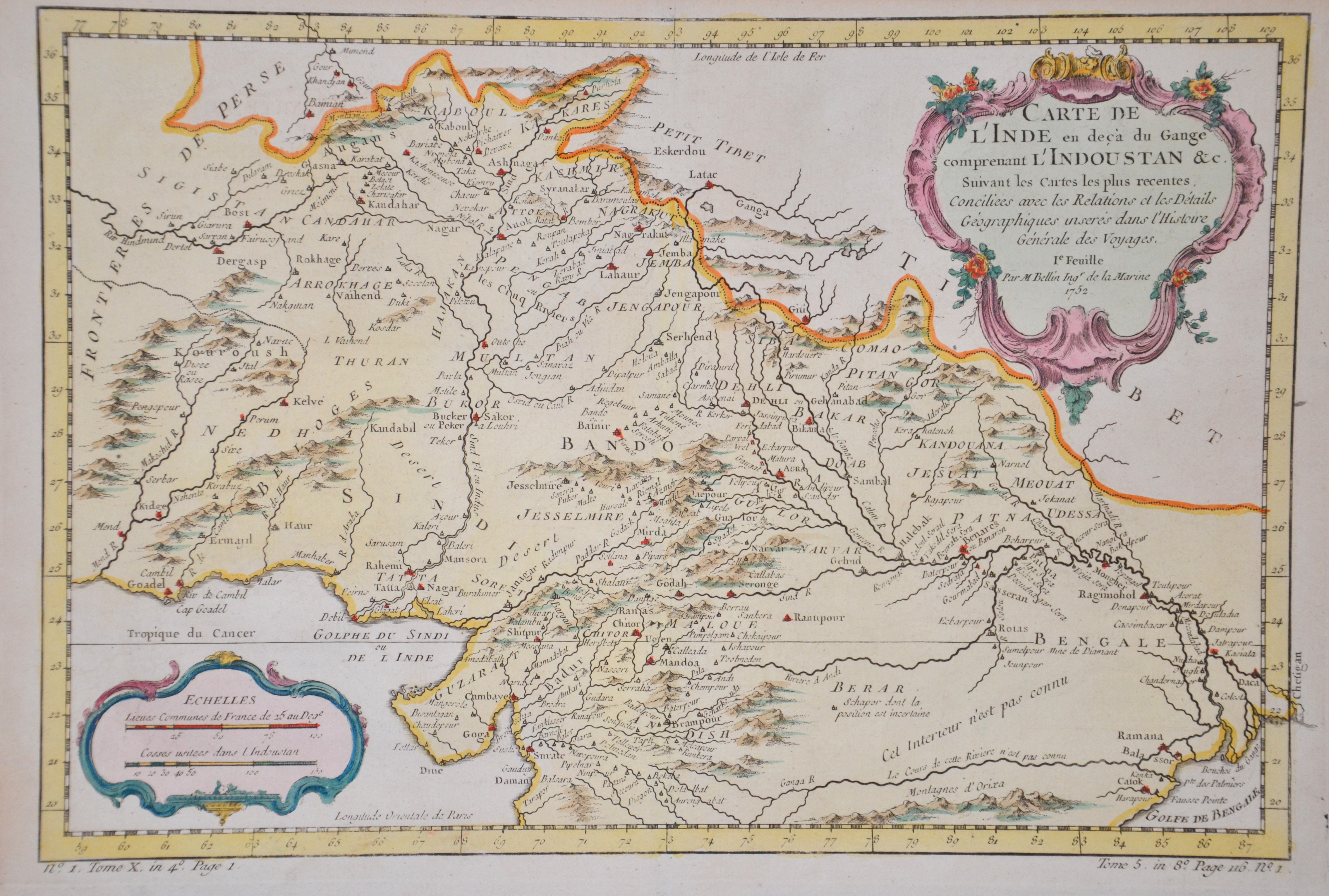 Bellin  Carte de l'Inde en decà du Gange comprenant l'Indoustan & c.