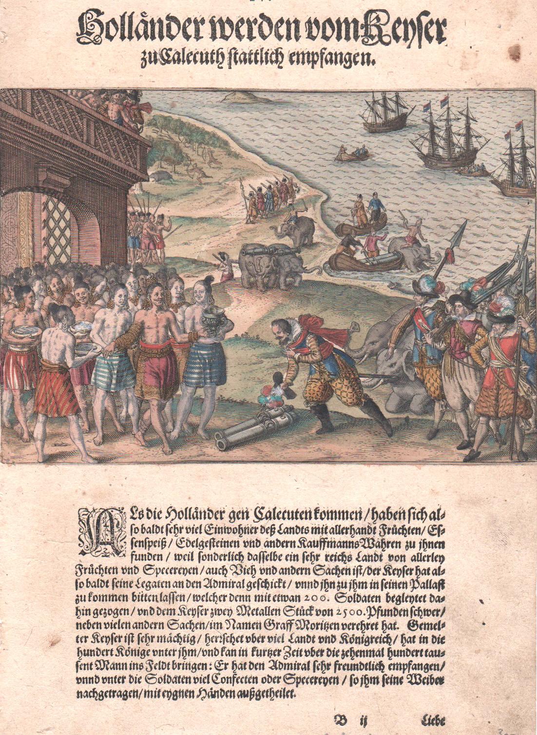 Bry, de Theodor, Dietrich Holländer werden vom Keyser zu Calecuth stattlich empfangen.