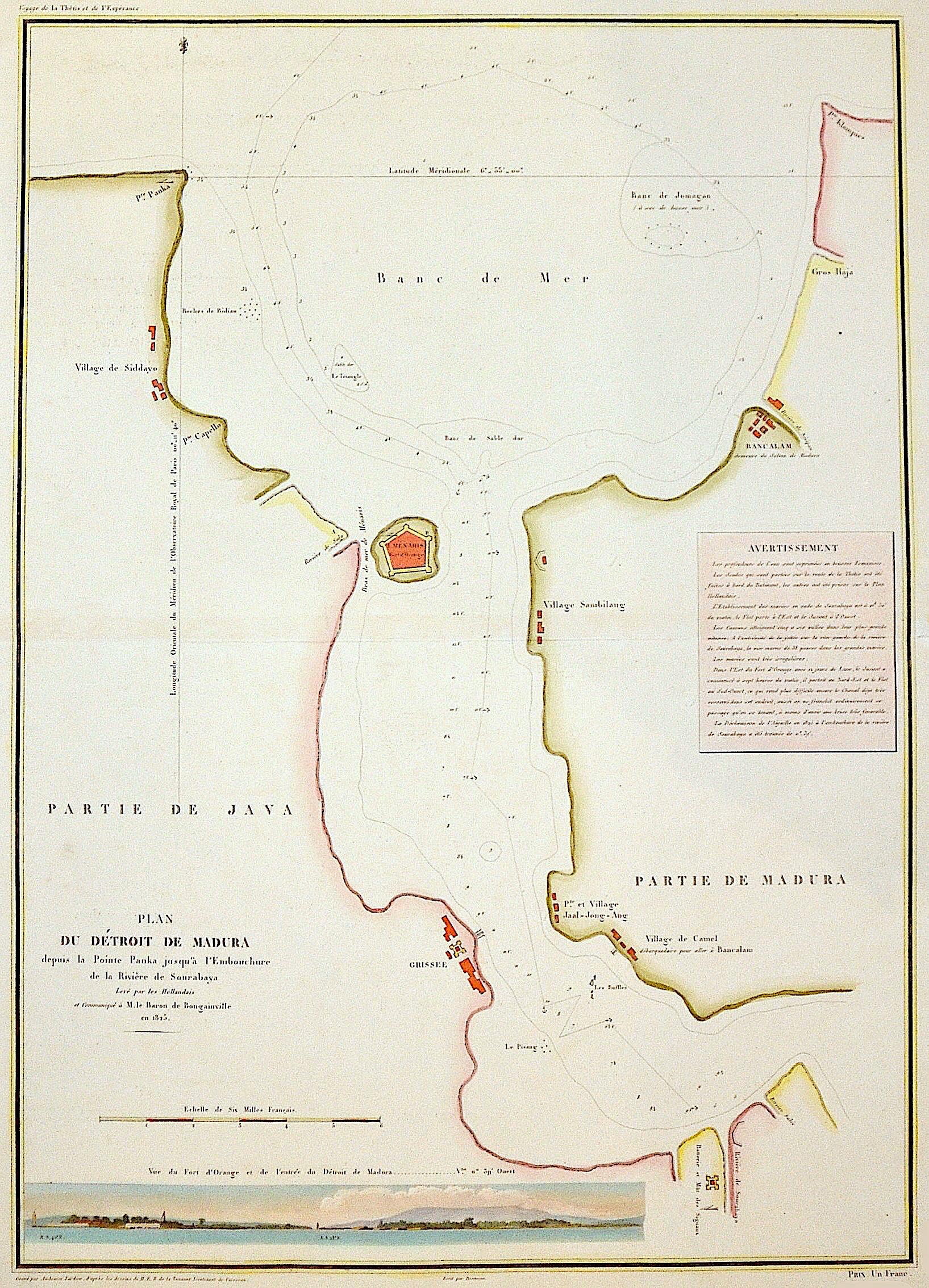 Tardieu  Plan du Dètroit de Madura depuis la Pointe Panka jusqu'à l' Embouchure de la Rivière de Sourabaya