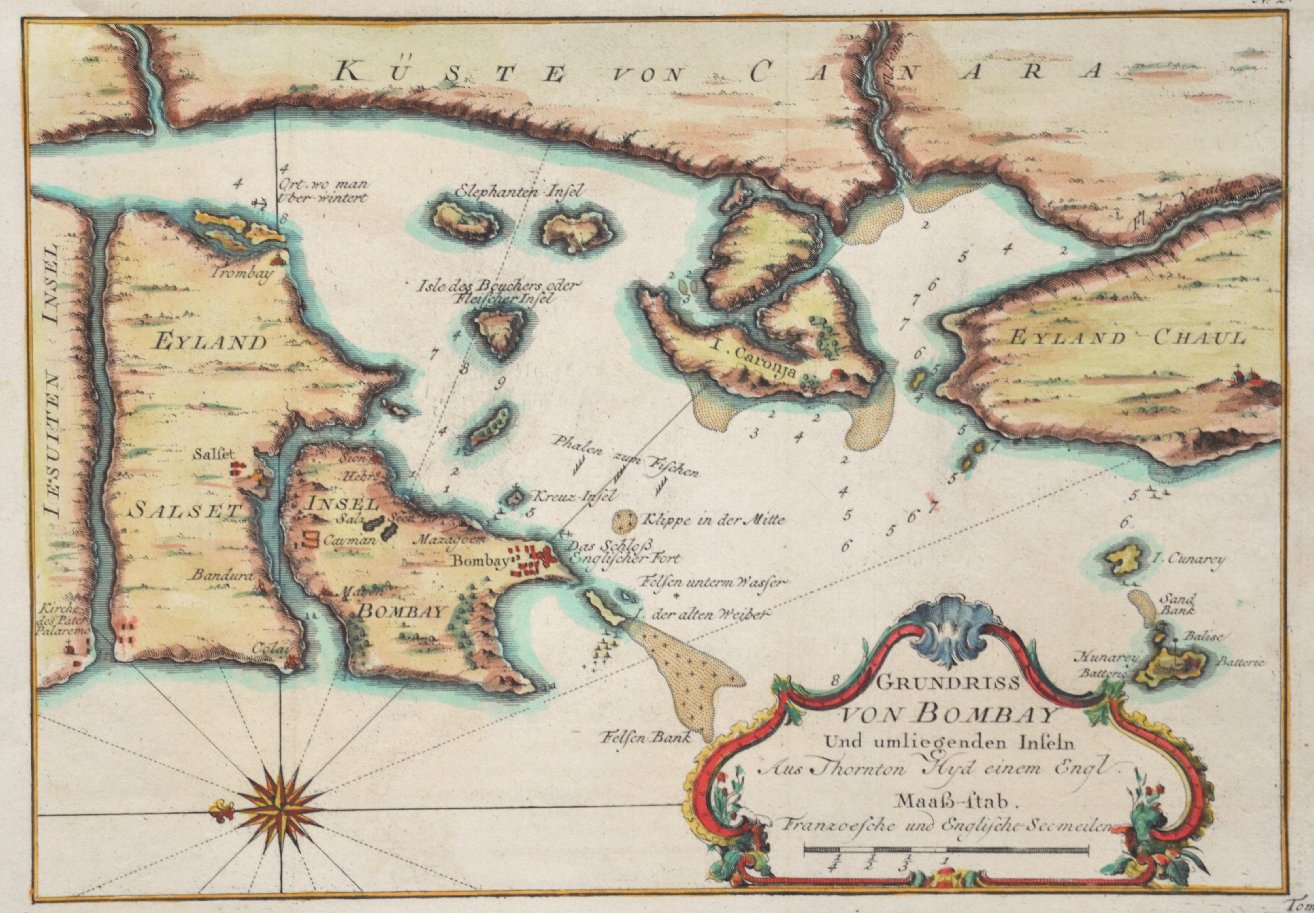 Bellin Jacques Nicolas Grundriss von Bombay und umliegenden Inseln. Aus Thornton Hyd einem Engl.