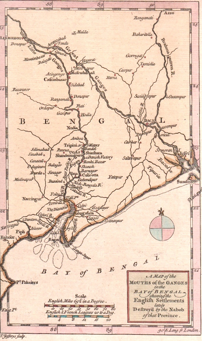 Jefferys Thomas A Map of the Mouths of the Ganges in the Bay of Bengal.