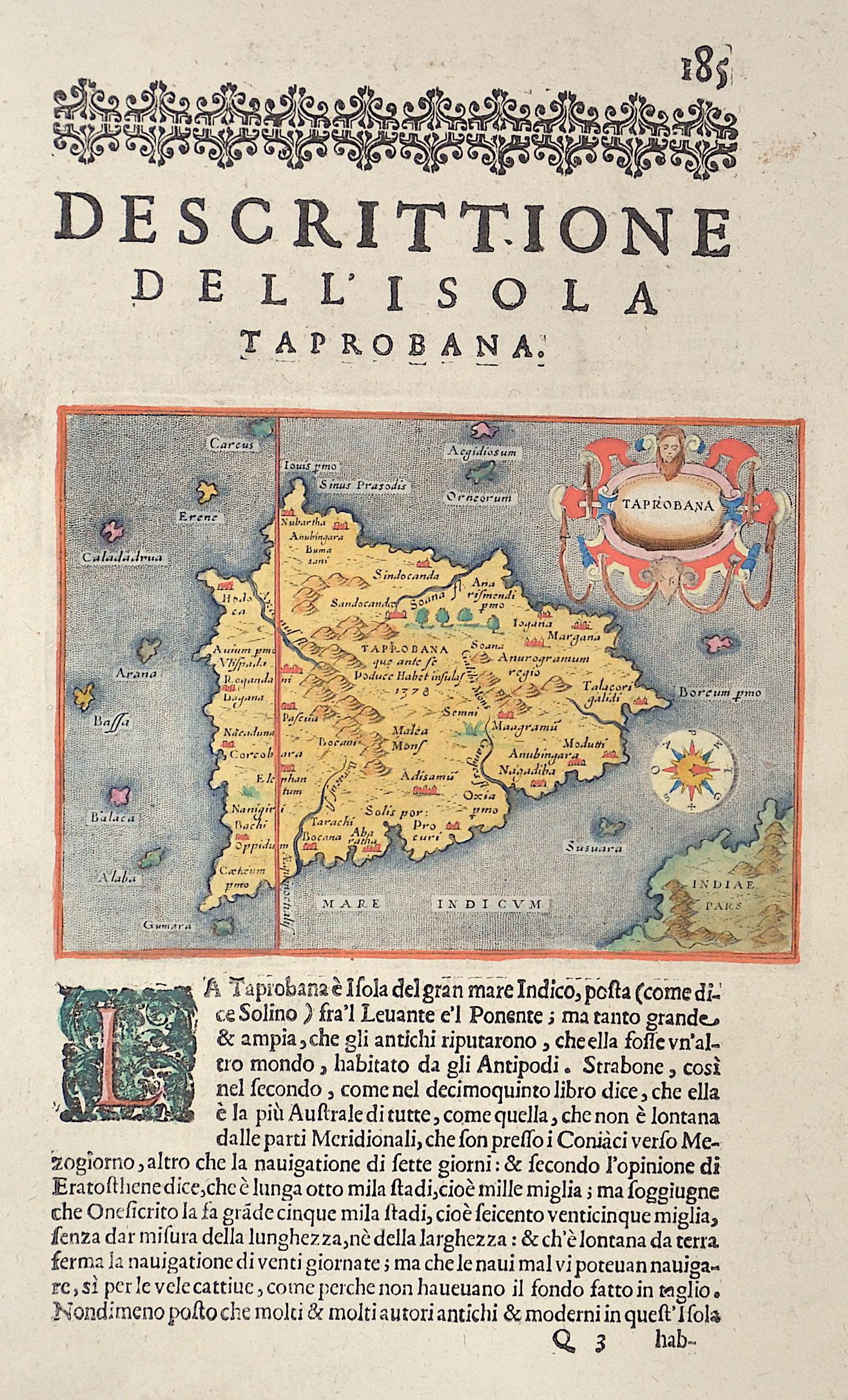 Porro Girolamo Descrittione de l l'Isola di Taprobana.