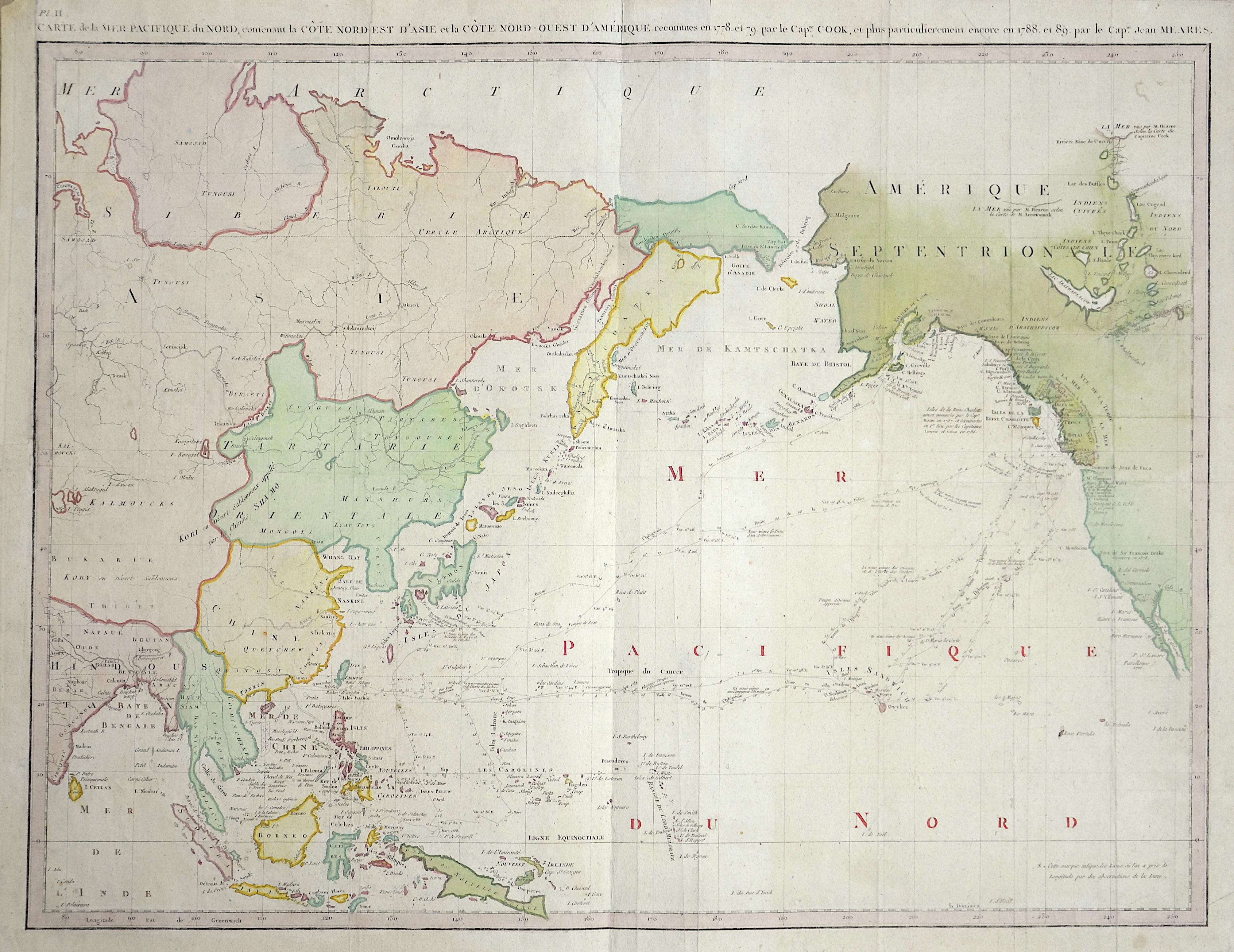 Meares  Carte de la Mer Pacifique du Nord, contenant la Cote Nord-Est d'Asie et la Cóte Nord-Ouest d'Amérique.