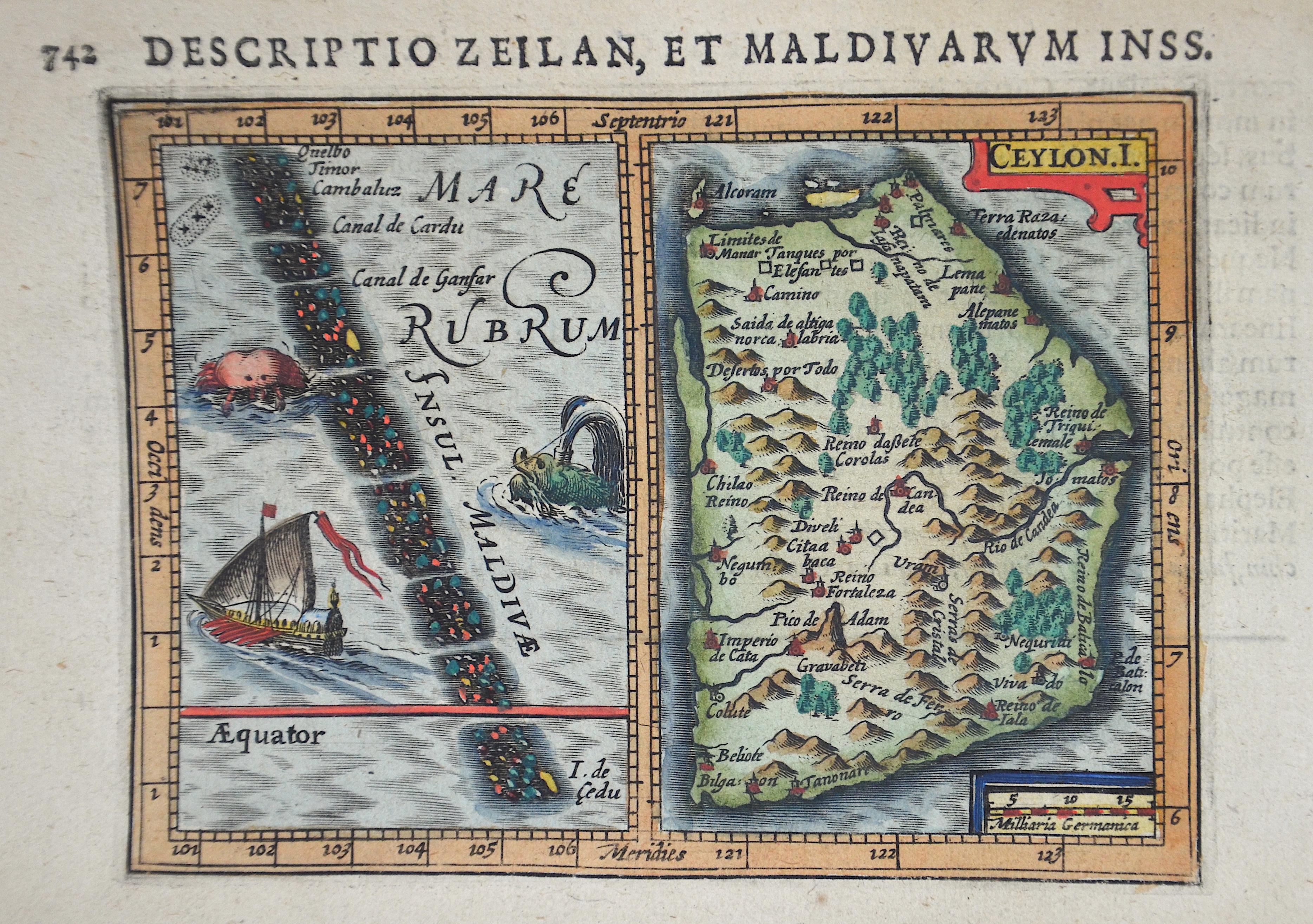 Bertius  Descriptio Zeilan, et Maldivarum Inss.