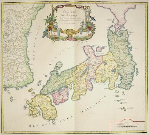 Vaugondy, de  L´Empire du Japon, divisee en sept principales parties et subdivise en foixante et fix Royaume..