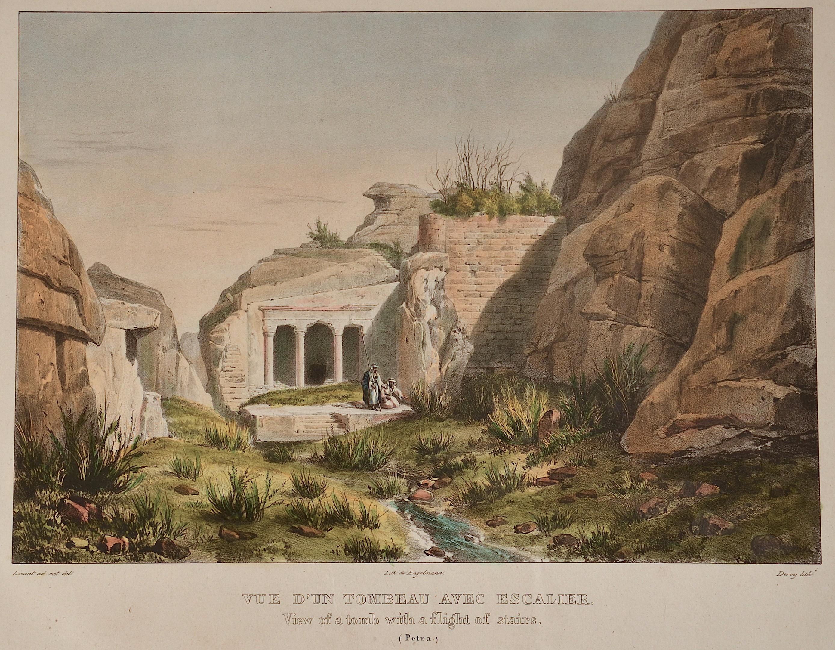 Engelmann  Vue d´un tobeau avec escalier/ view of a tomb with a flight of stairs