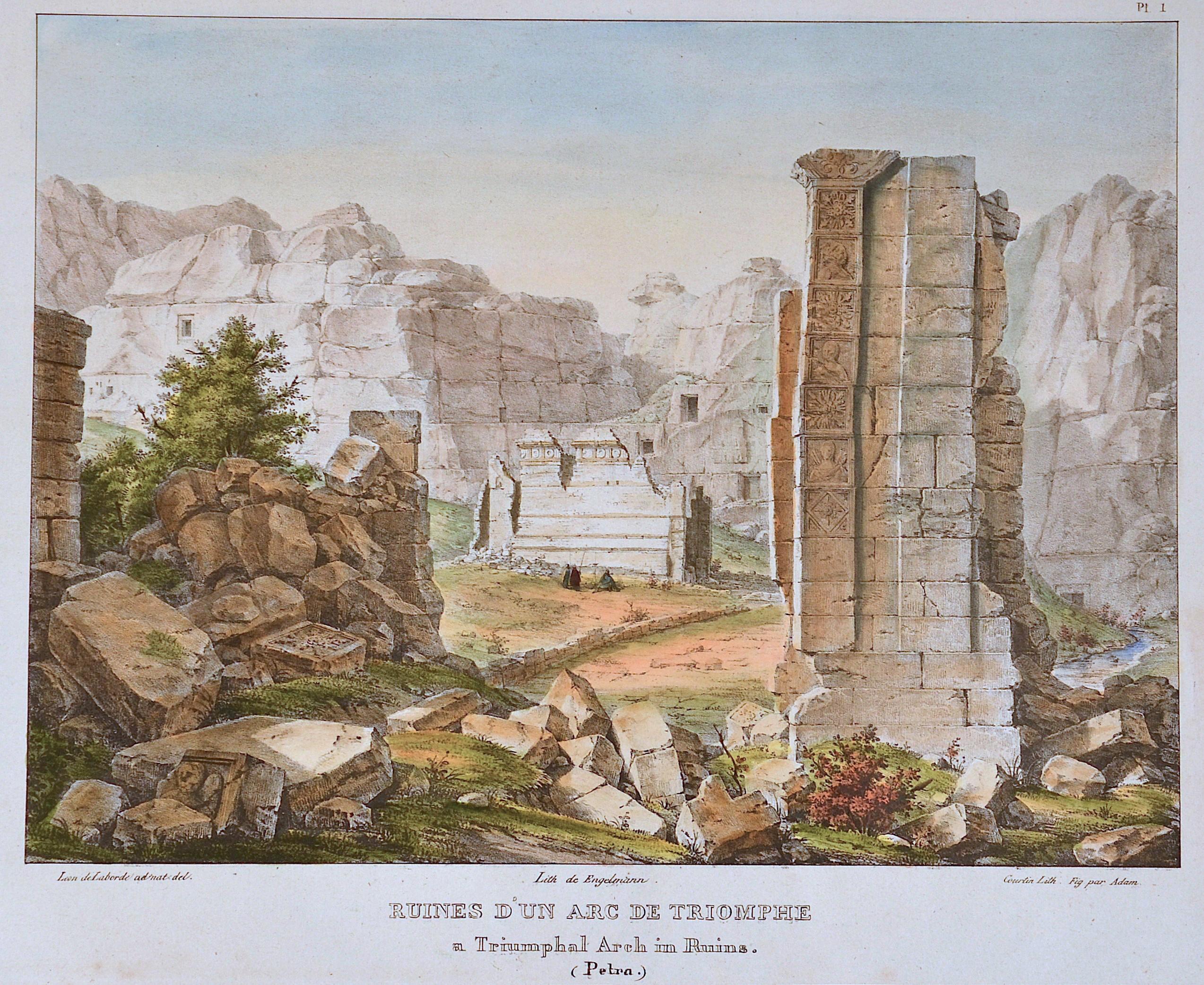 Engelmann  Ruines d´un arc de Triomphe/ A Triumphale Arch in Ruins ( Petra)