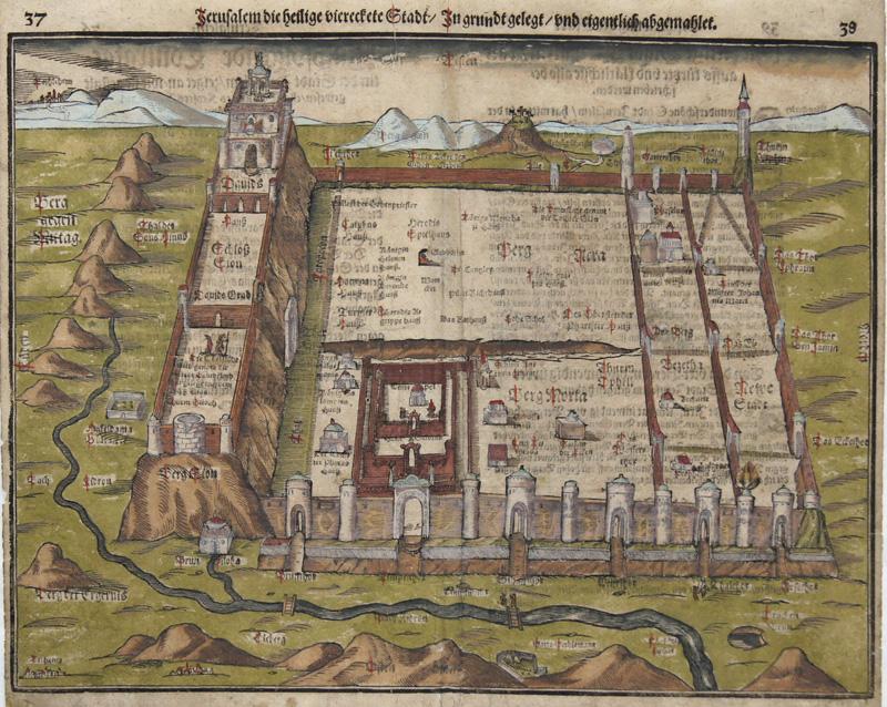 Münster Sebastian Jerusalem die heilige viereckete Stadt / In grundt gelegt / und eigentlich abgemahlet.