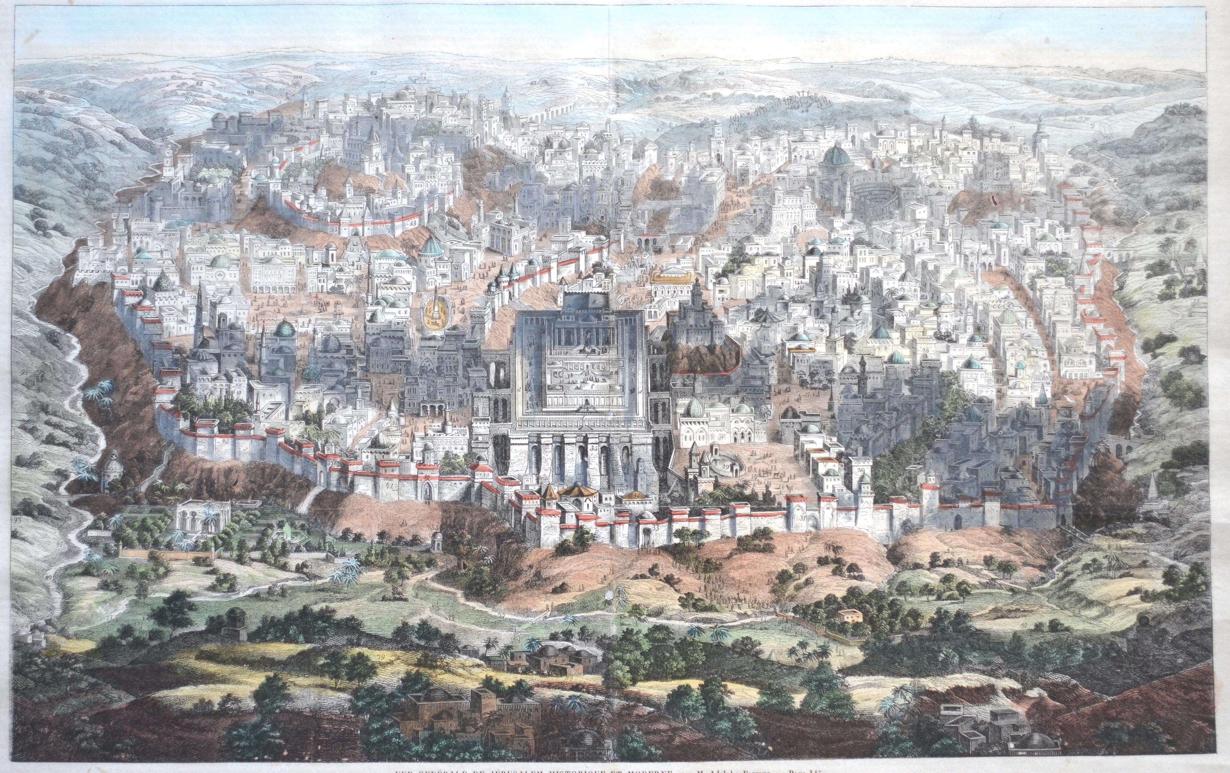 Elzzner M. Adolphe Vue Genérale de Jérusalem historique et moderne, par M. Adolphe Elzzner.