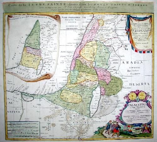 Homann Erben  Carte de la Terre Sainte divesee se lon les douze tribus d´Israel