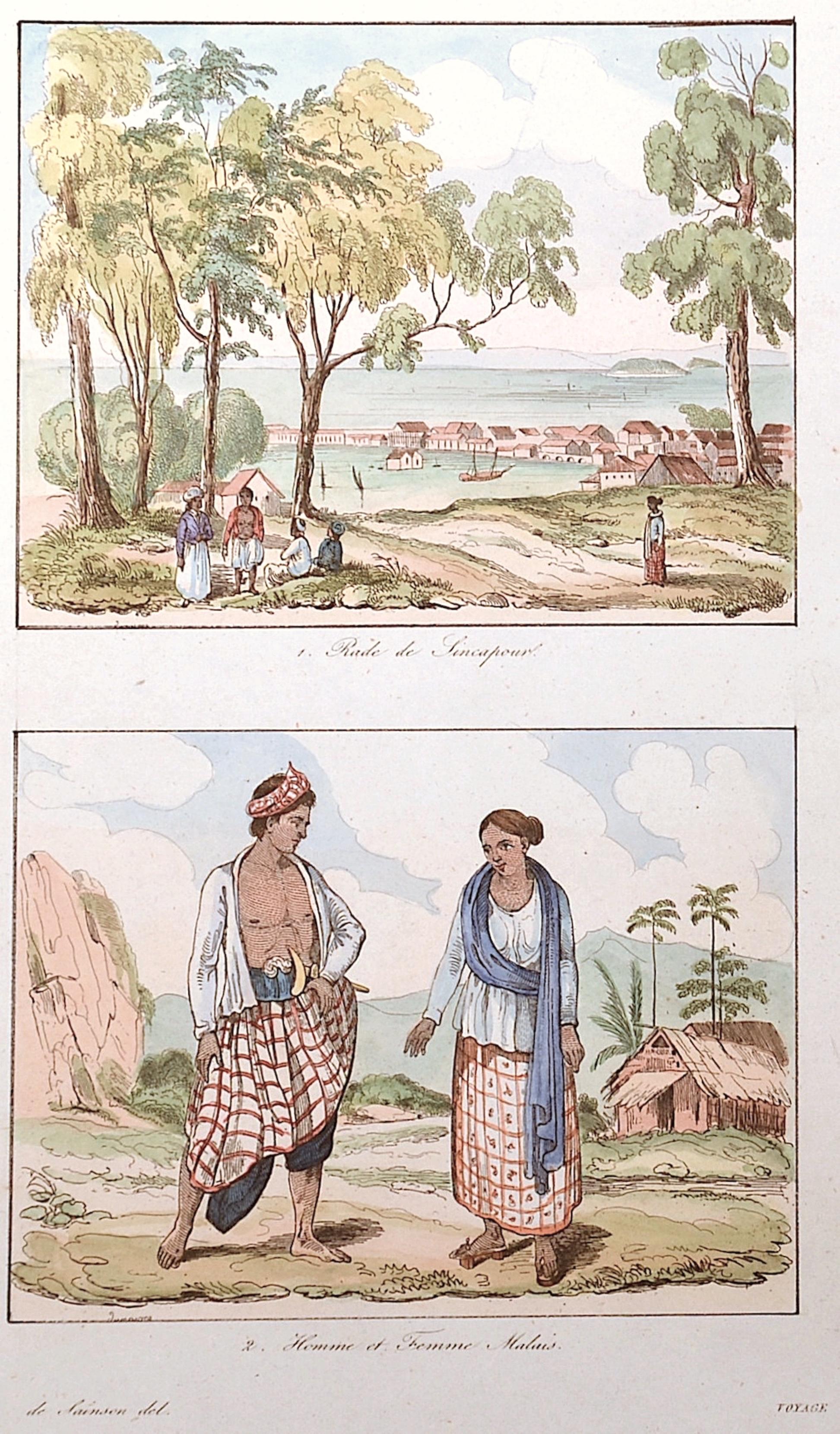 Sainson de  Rade de Sincapour / Homme et femme Malais