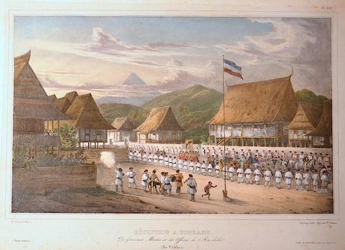 Chapuy  Rezeption a Tondano du Gouverneur Marcus et des Officiers de l´Atrolabe ( Ile Celebes)