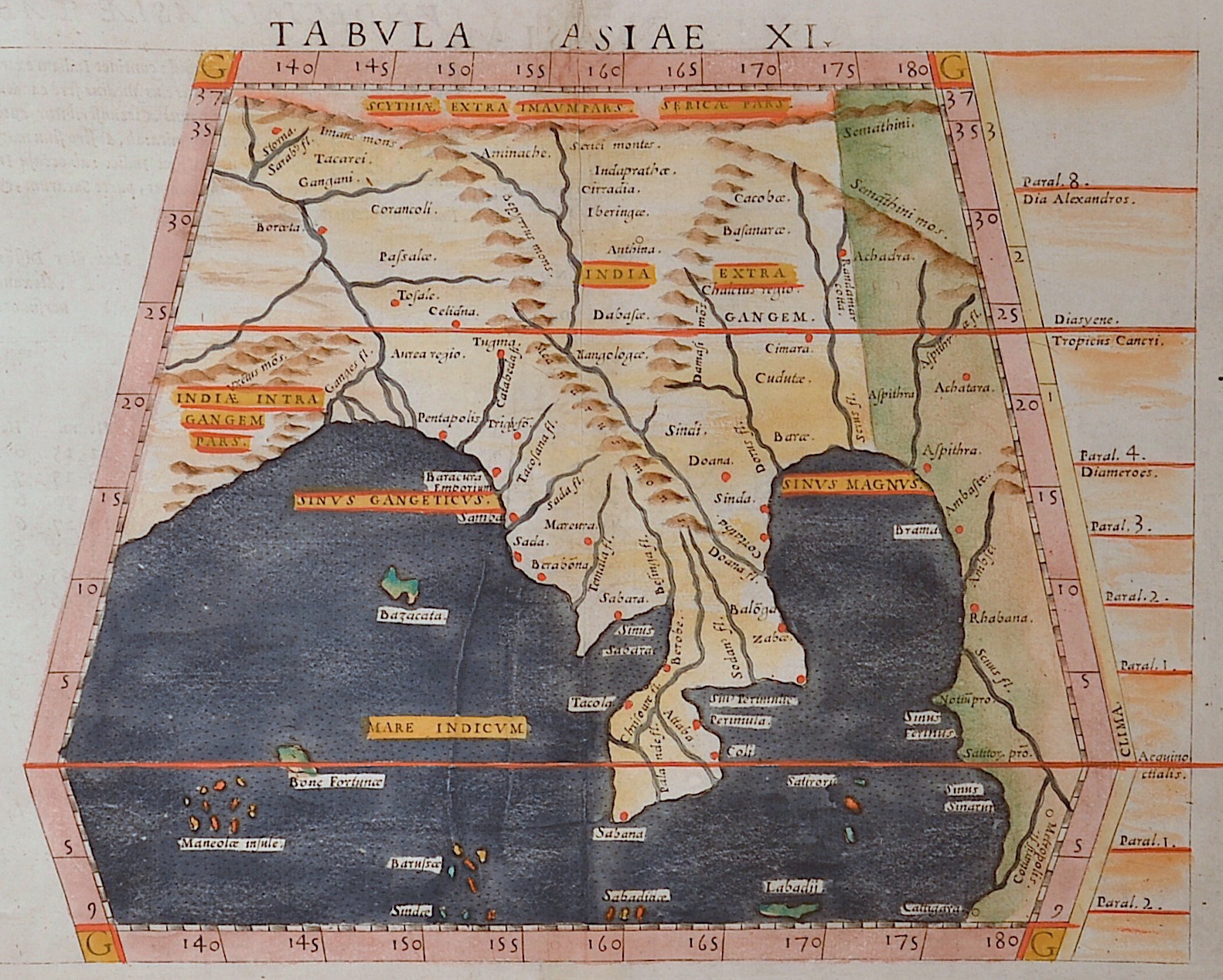 Ruscelli Girolamo Tabula Asiae XI