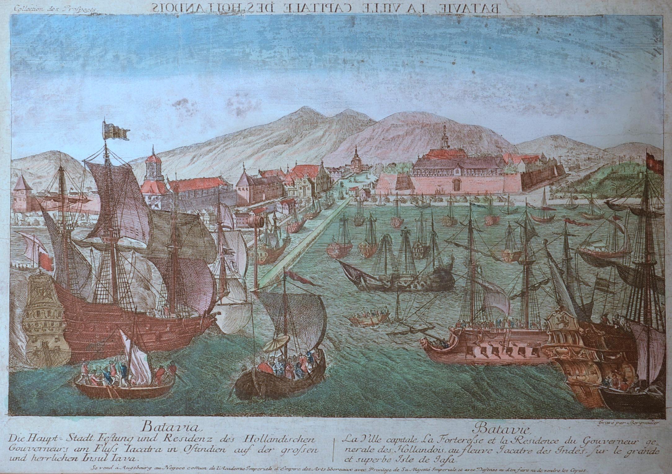Bergmüller  Batavia die Haupt- Stadt, Festung und Residenz des Holländischen Gouverneurs am Fluss Jacatra in Ostindien auf der grossen und herrlichen Insul Java..