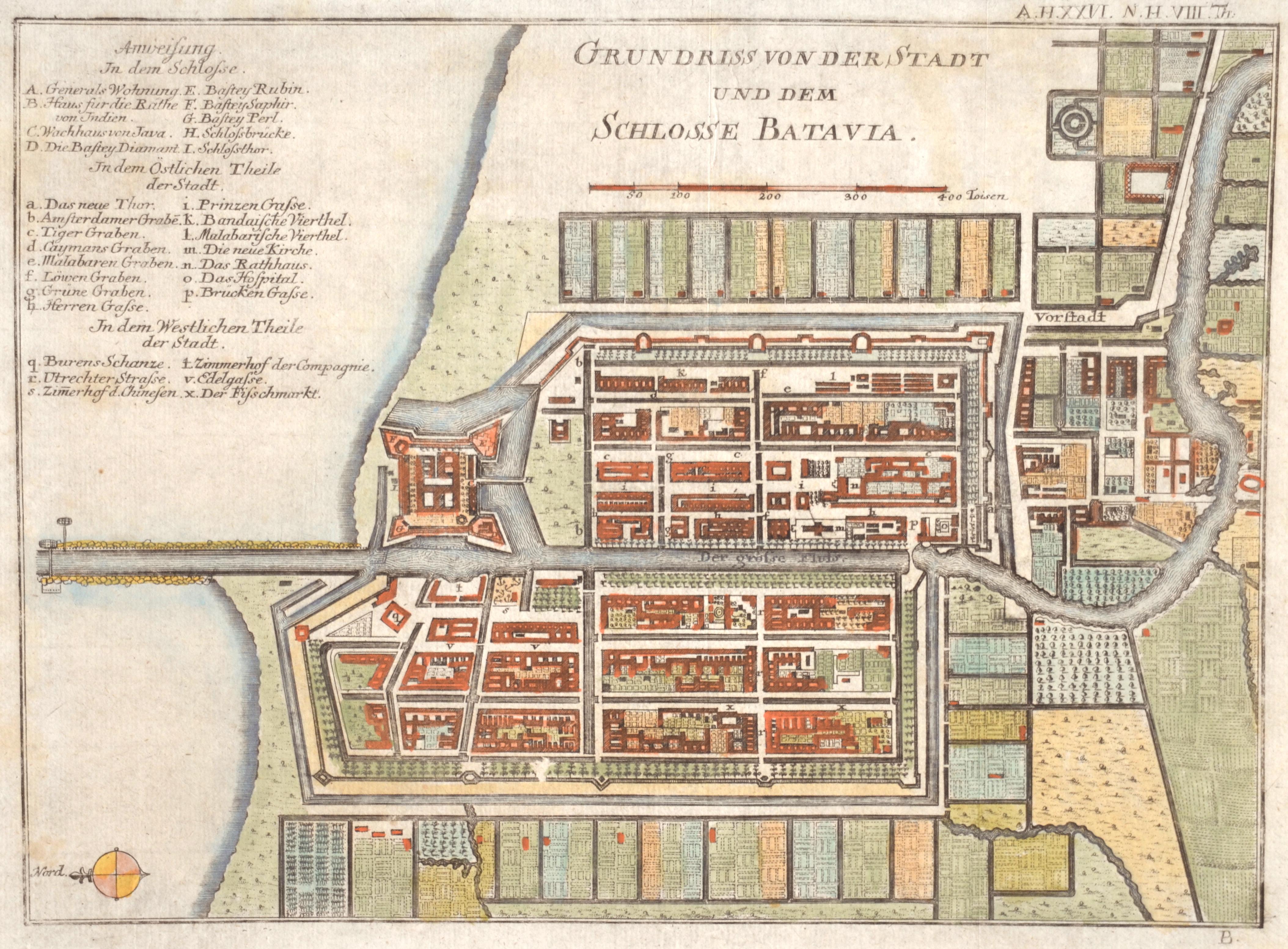 Baumgarten/Semler  Grundriss von der Stadt und dem Schlosse Batavia