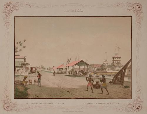 Bos Gerardus Johannes Batavia. Het Jaagpad, Landingsplaats te Batavia. Le Jaagpad, embarcadere a Batavia.