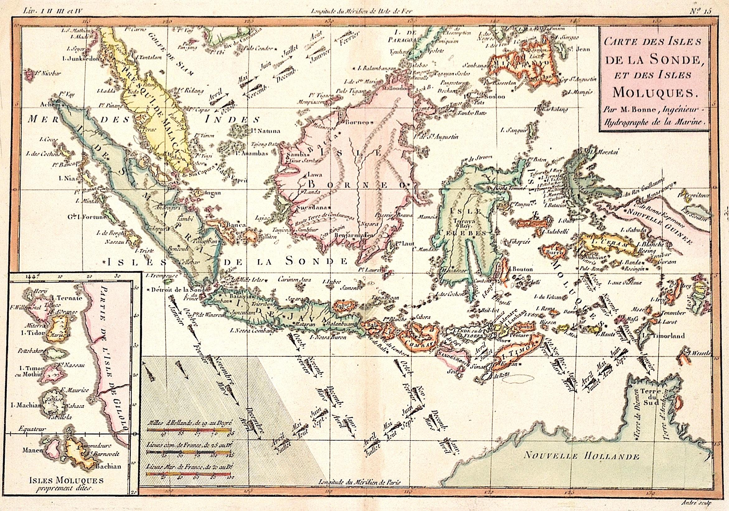 Bonne Rigobert Carte des Isles de la Sonde, et des Isles Moluques.