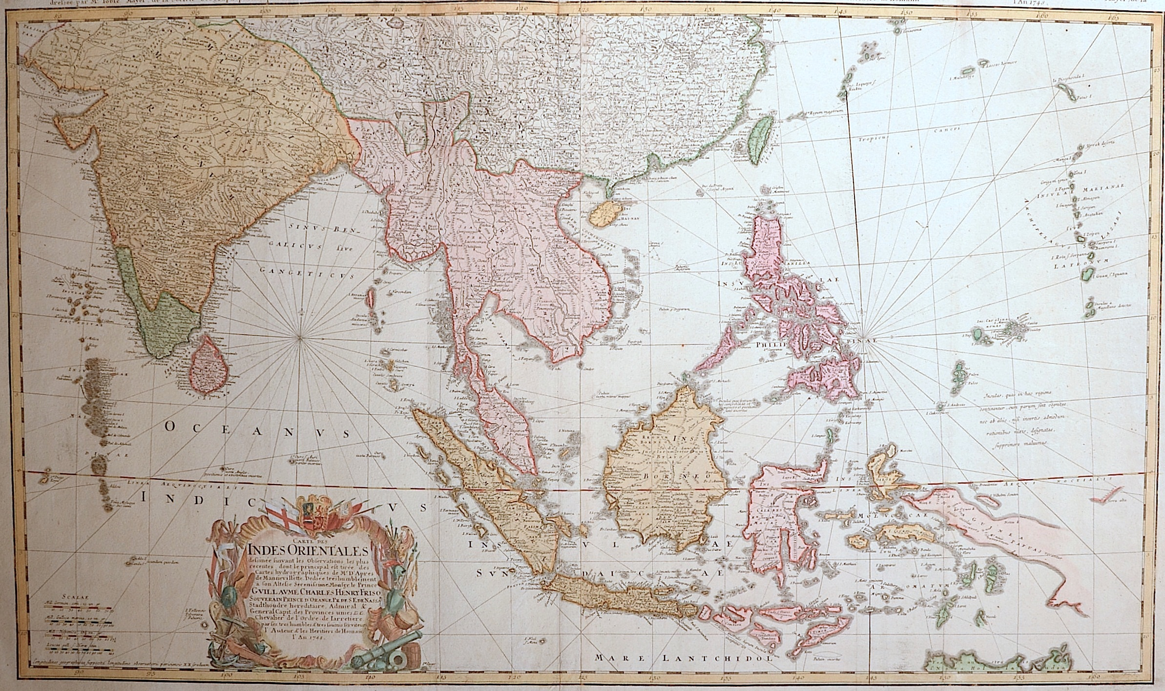 Homann Erben  Carte de Indes Orientales dessinee suivant les Observations…