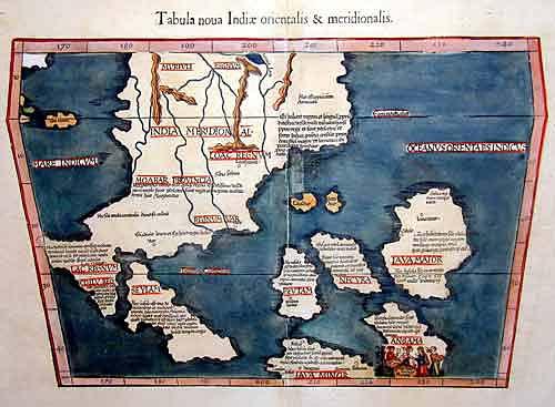 "Ptolemy/ Fries Claudius/ Laurent ( Lorenz) Tabula nova Indiae orientalis & meridionalis"""