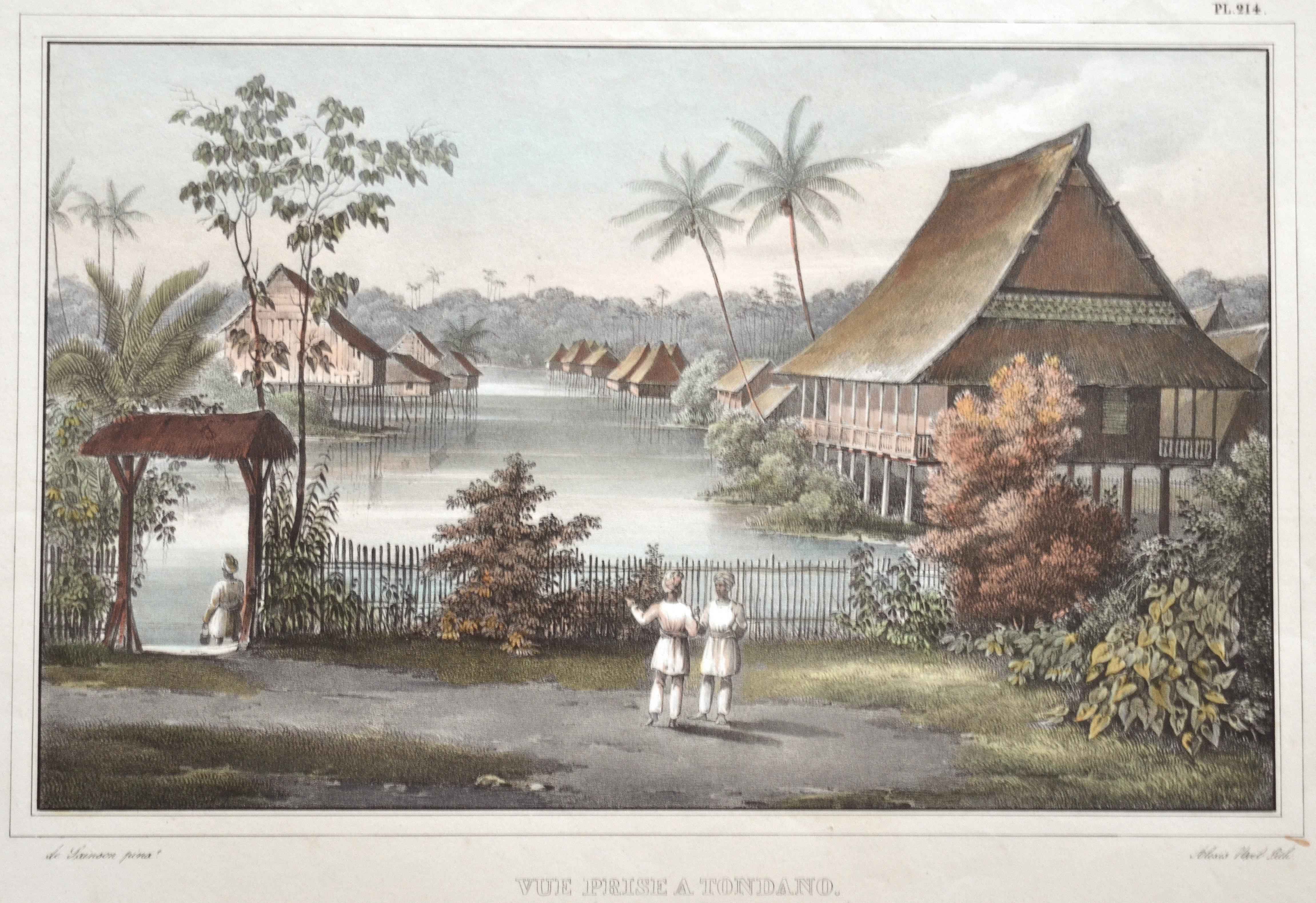 Sainson de Louis Auguste Vue Prise a Tondano. De la Maison du Résident Hollandais. (Ile Celebes)