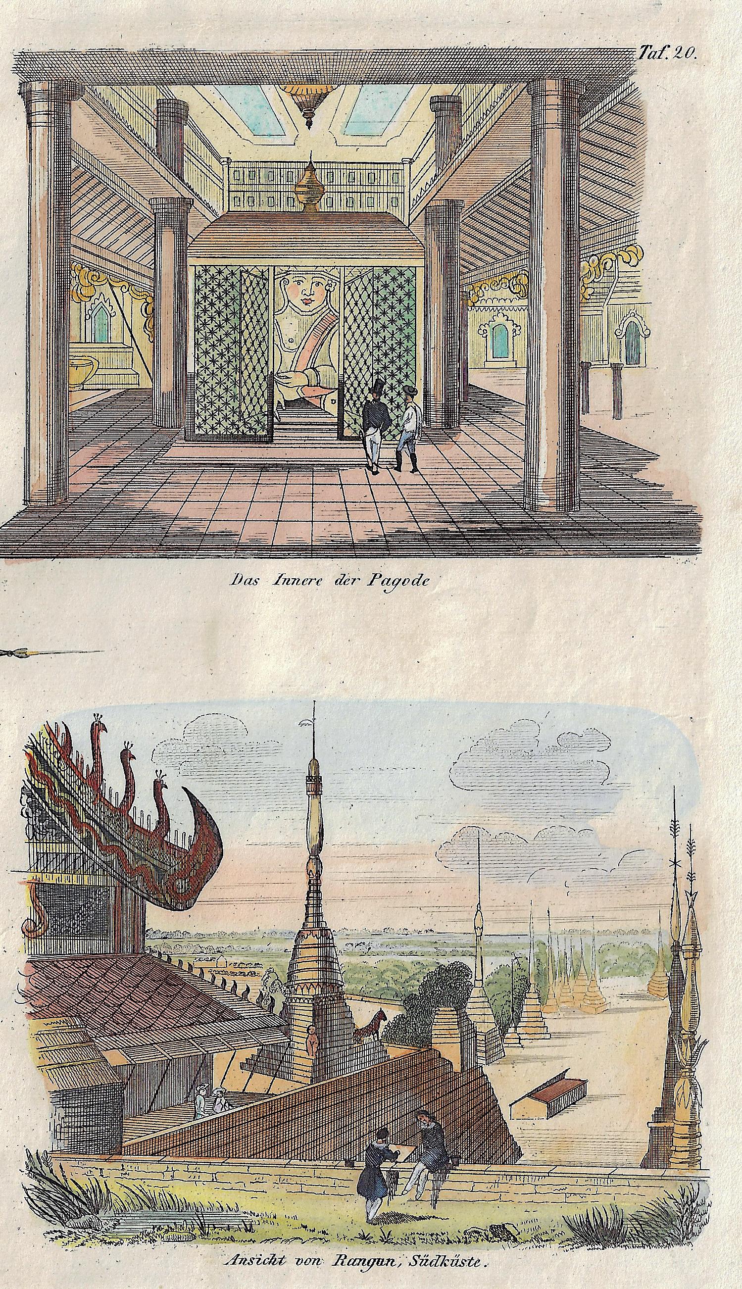 Anonymus  Das Innere der Pagode / Ansicht von Rangun, Südküste.