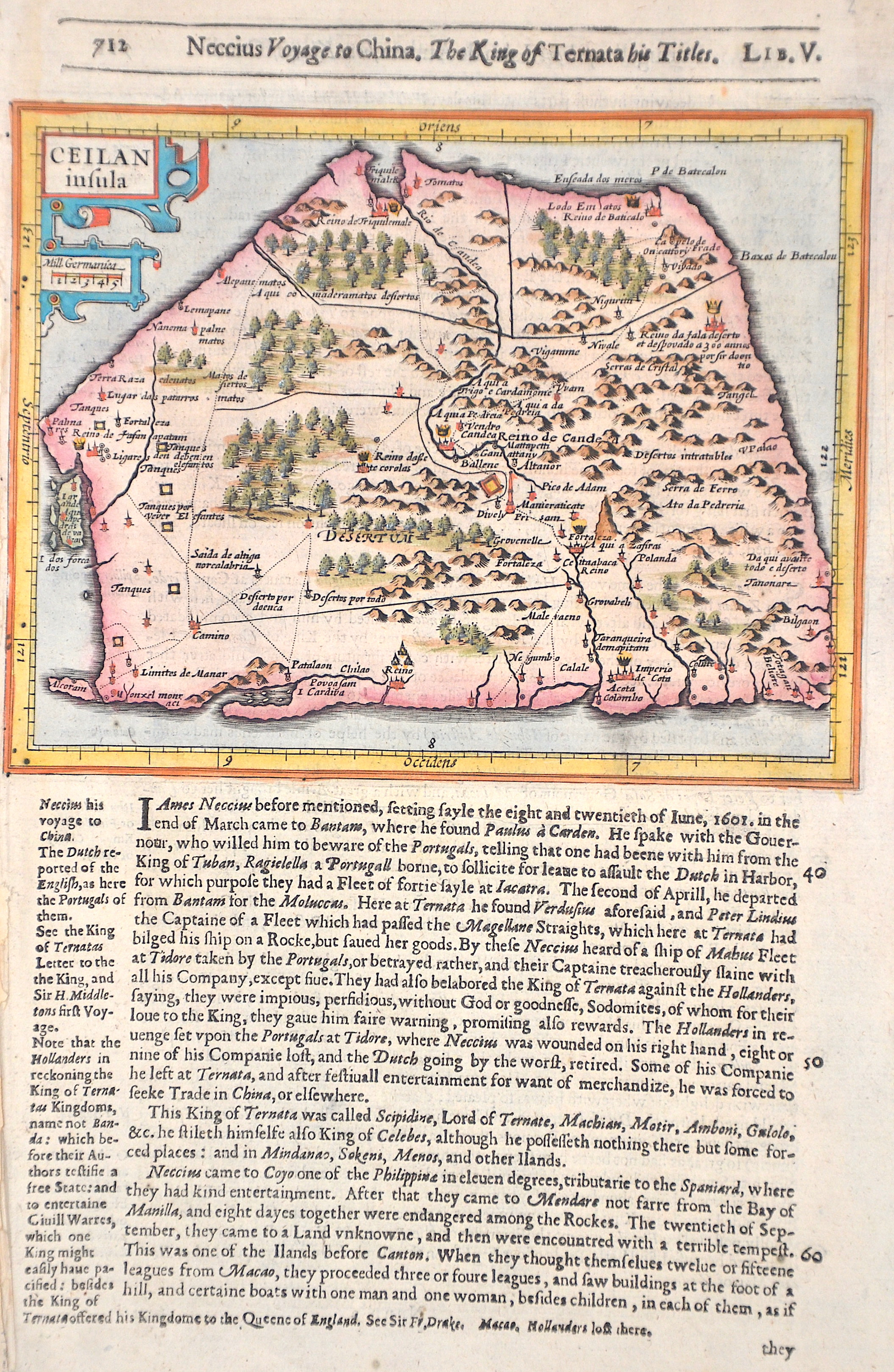 Hondius/Sparke  Ceilan insula / Neccius Voyage to China.