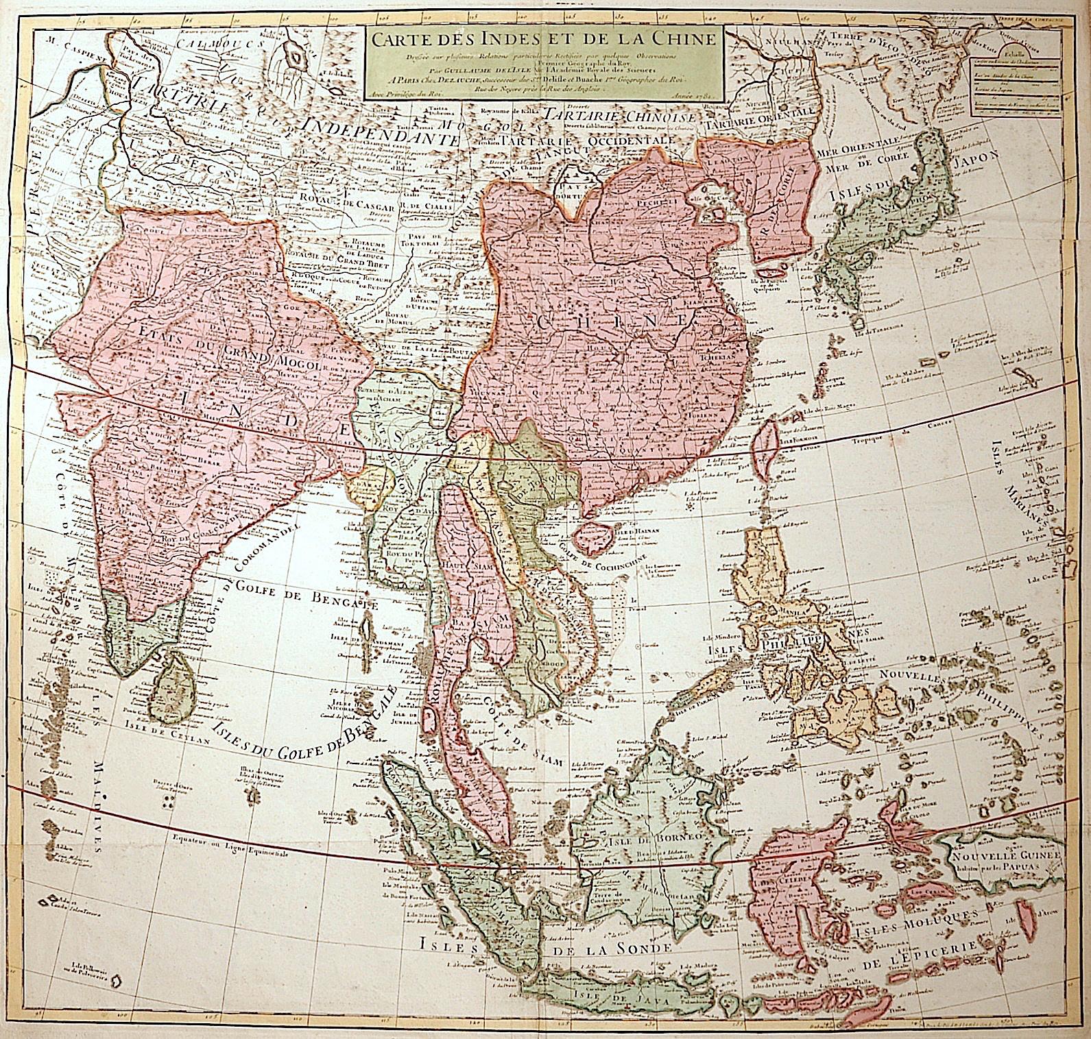 Dezauche/de l´Isle,  Carte des Indes et de la Chine