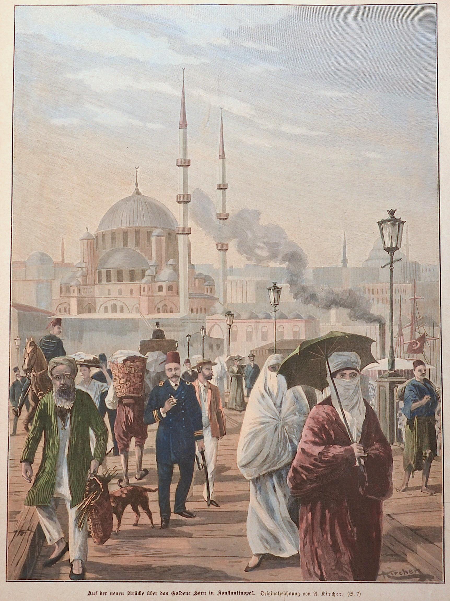 Kircher  Auf der neuen Brücke über das Goldene Horn in Constantinopel