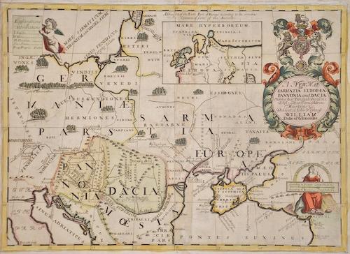 Wells Edward A New Map of Sarmatia Europaea Pannonia and Dacia..   William Duke of Gloucester.