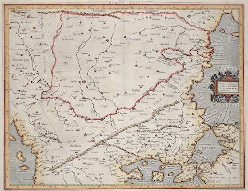 Ptolemy/ Gerhard Mercator Claudius Eur: IX TAB: / Medius meridianus. 51. reliqui ad hune inclinantnr pro ratione. 43. 47. parallelorum.