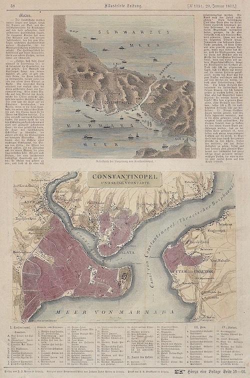 Brockhaus riedrich Arnold Reliefkarte der Umgebung von Konstantinopel. / Constantinopel und seine Vorstädte.