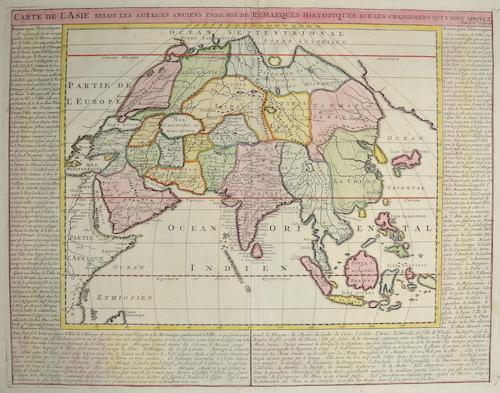 Chatelain Henri Abraham Carte de  l´Asie selon les Auteurs anciennes enrichie de Remarques Historiques…