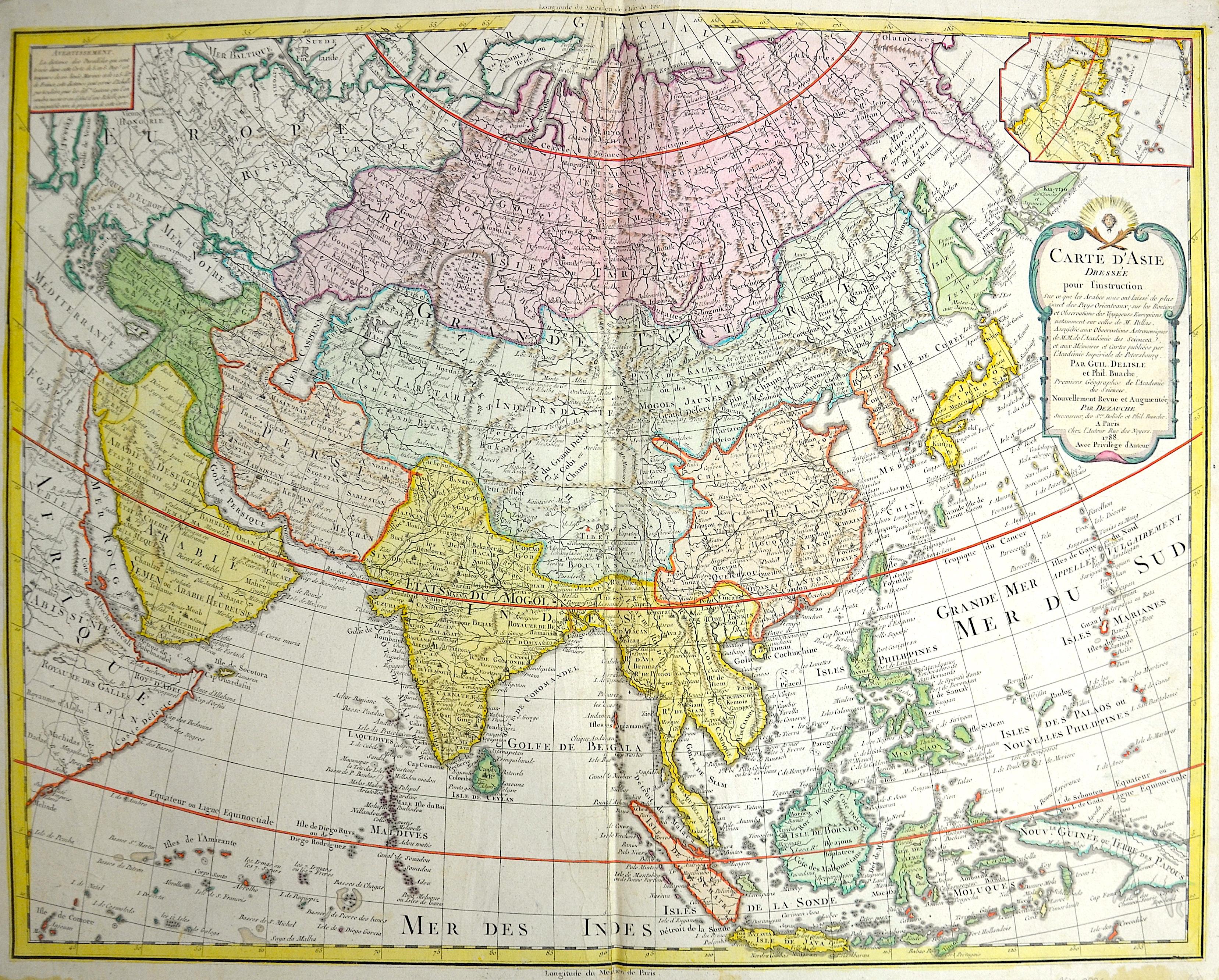 Dezauche/de l´Isle,  Carte d' Asie dressee pour l'instruction…