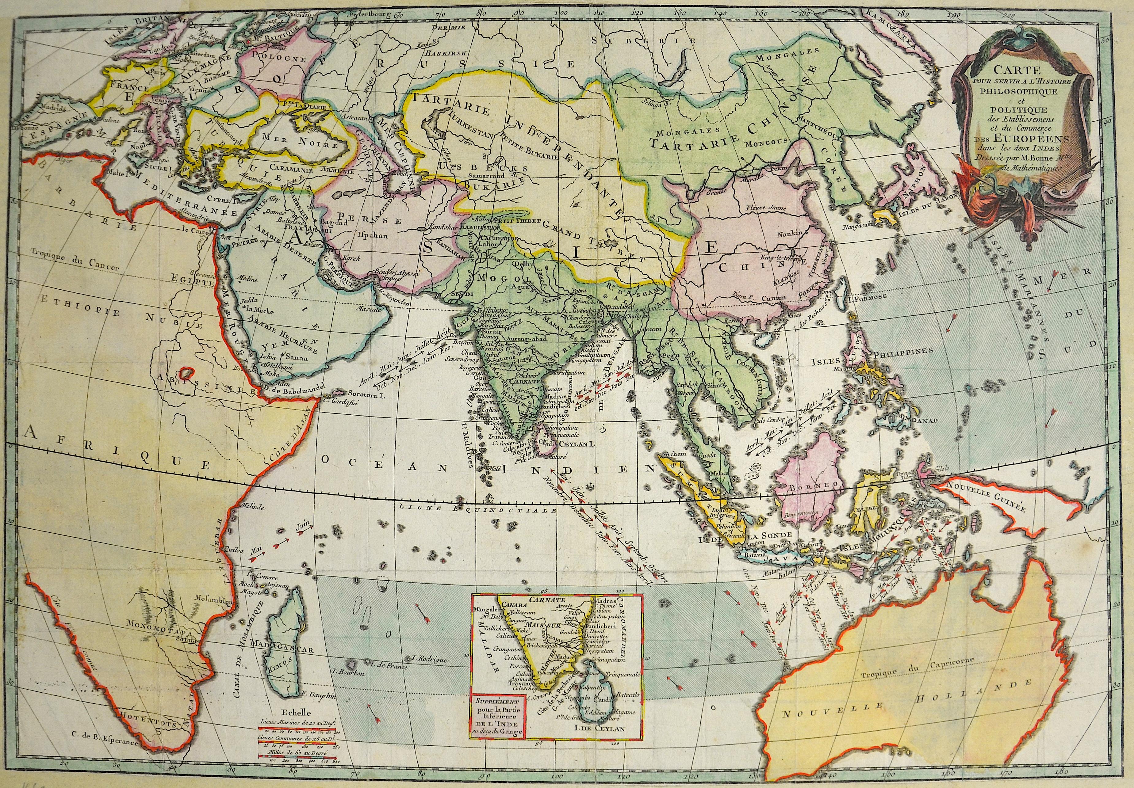 Bonne Rigobert Carte pour servir a l'Histoire Philosophique et Politique des Etablissemens et du Commerce des Européens dans les deux Indes.