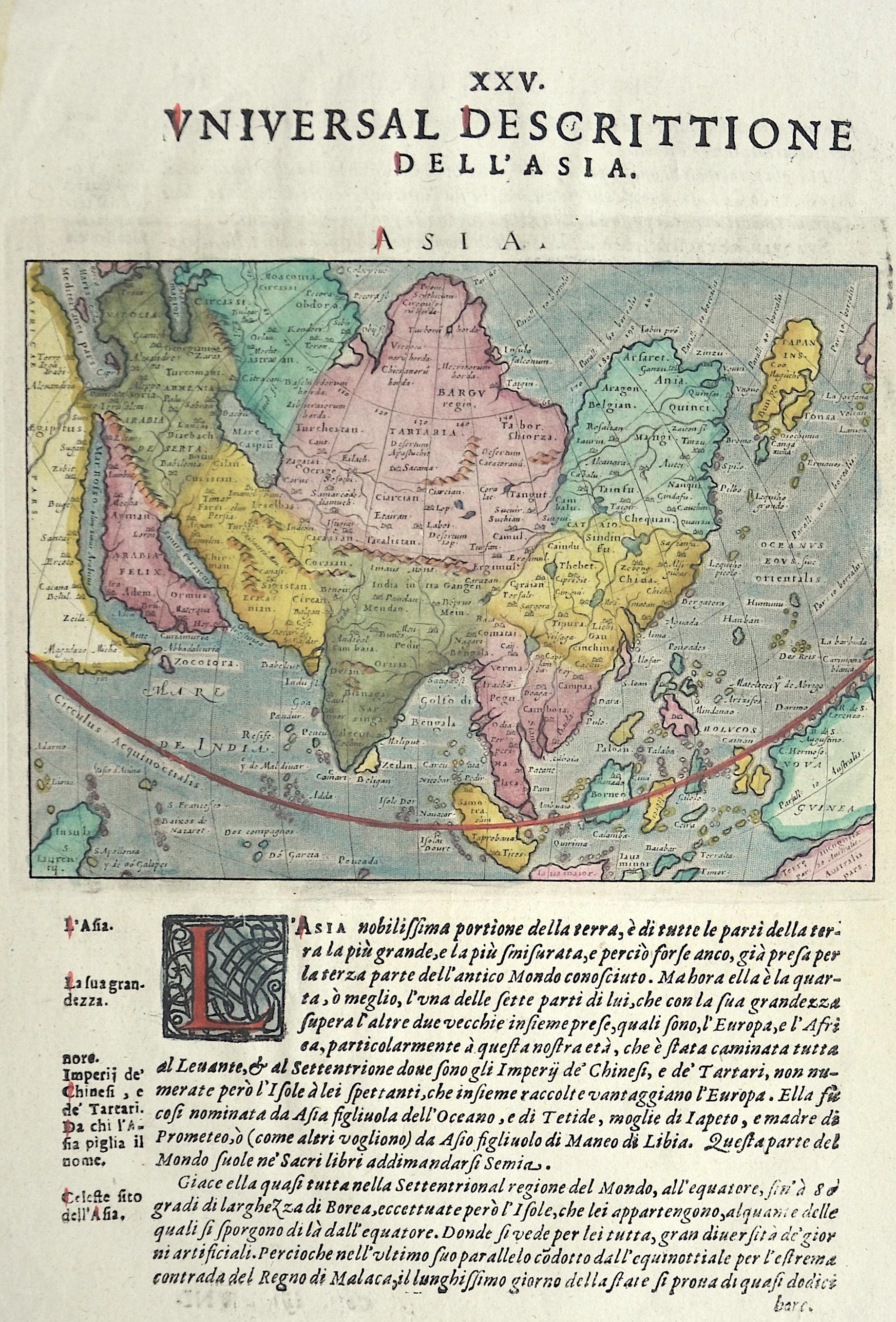 Porcacchi/ Porro Tomasso XXV Universal Descrittione dell Asia/ ASIA