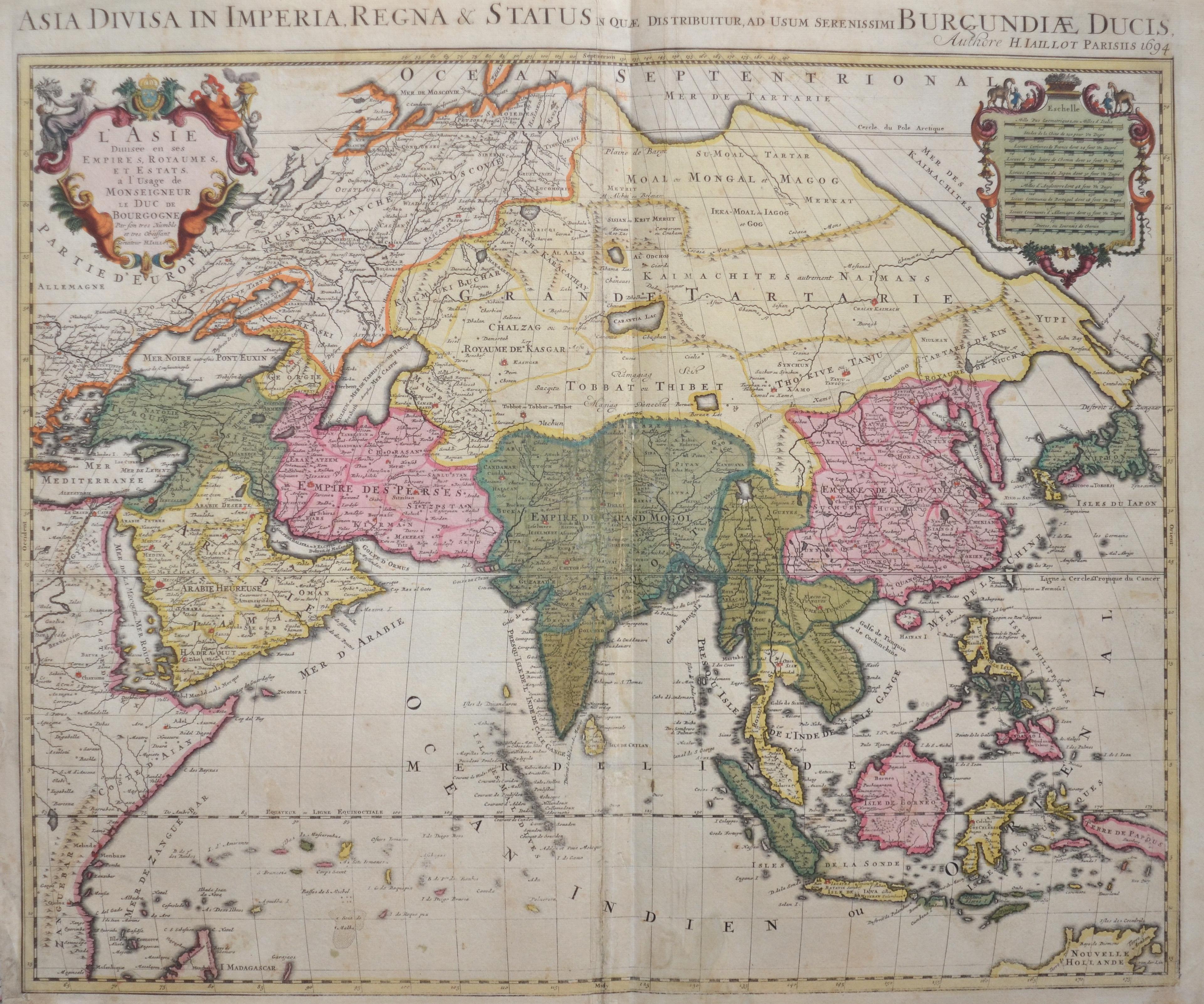 Jaillot Hubert Asia Divisa in Imperia, Regna & Status in que distribuitur, ad usum serenissimi Burgundiae Ducis,…